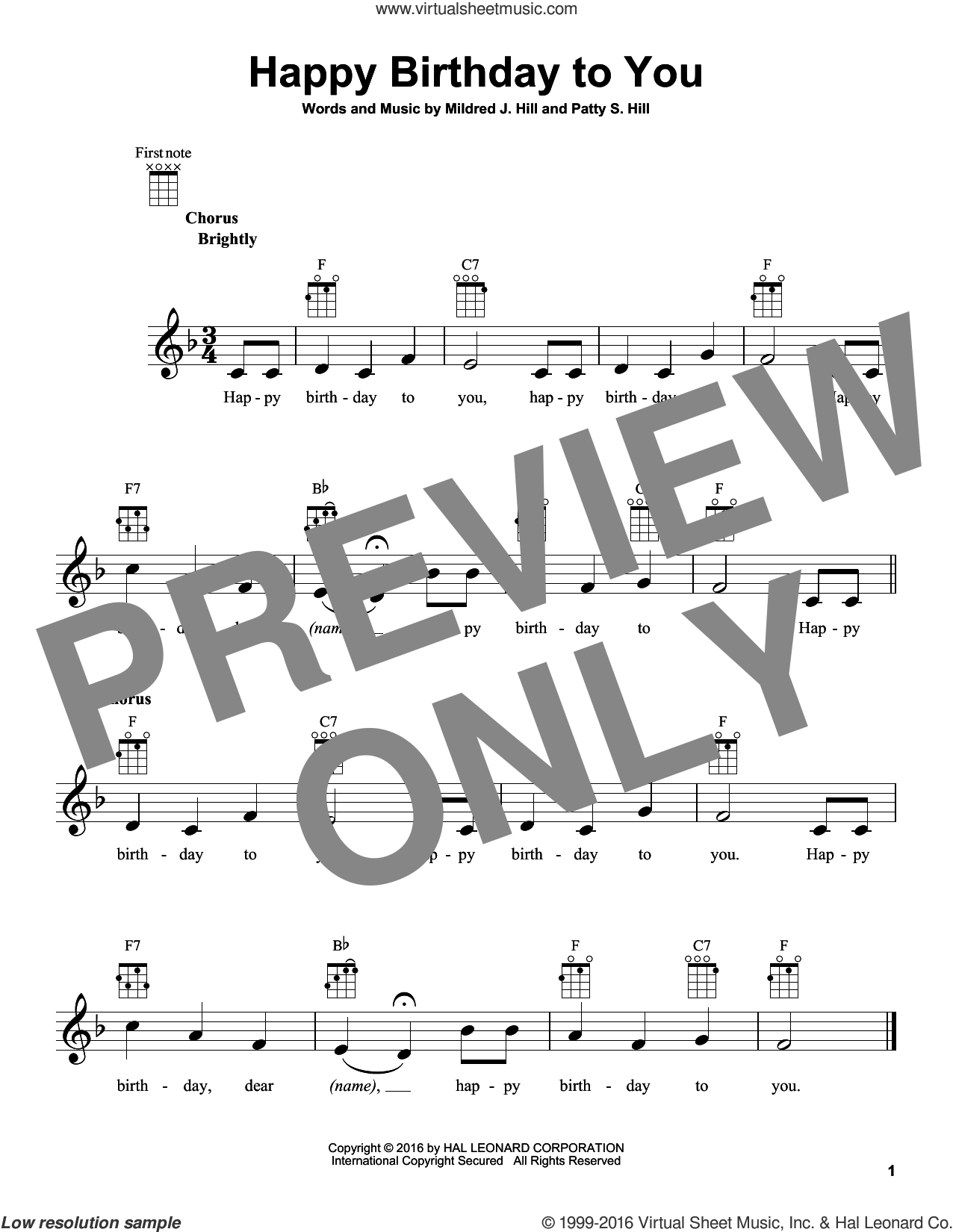 Happy Birthday To You sheet music for ukulele by Patty Smith Hill and Mildred J. Hill. Score Image Preview.