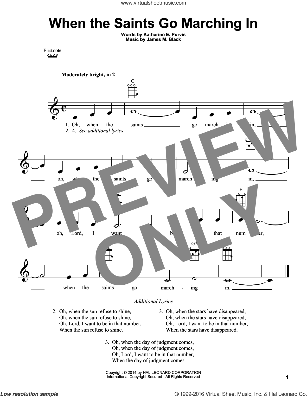 When The Saints Go Marching In sheet music for ukulele by Katherine E. Purvis and James M. Black. Score Image Preview.