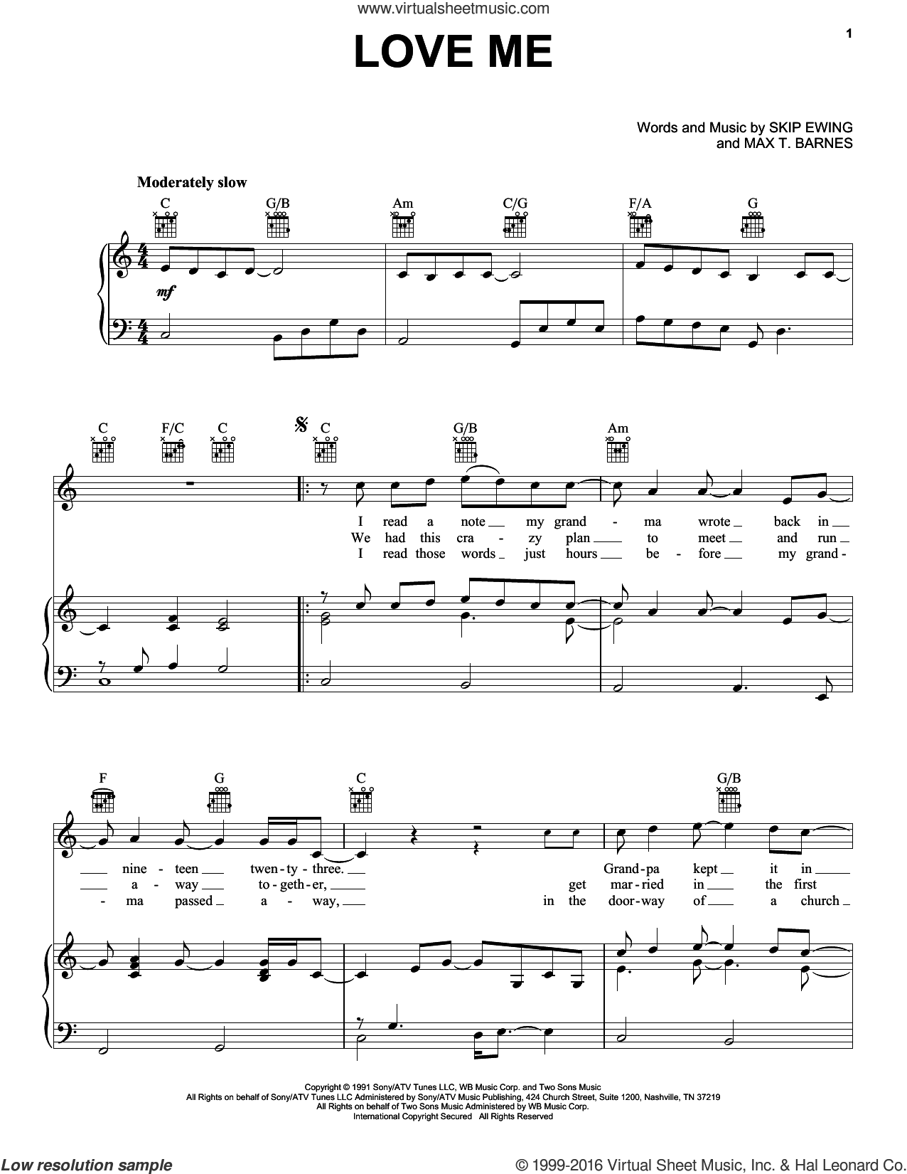 Love Me sheet music for voice, piano or guitar by Max T. Barnes and Skip Ewing. Score Image Preview.