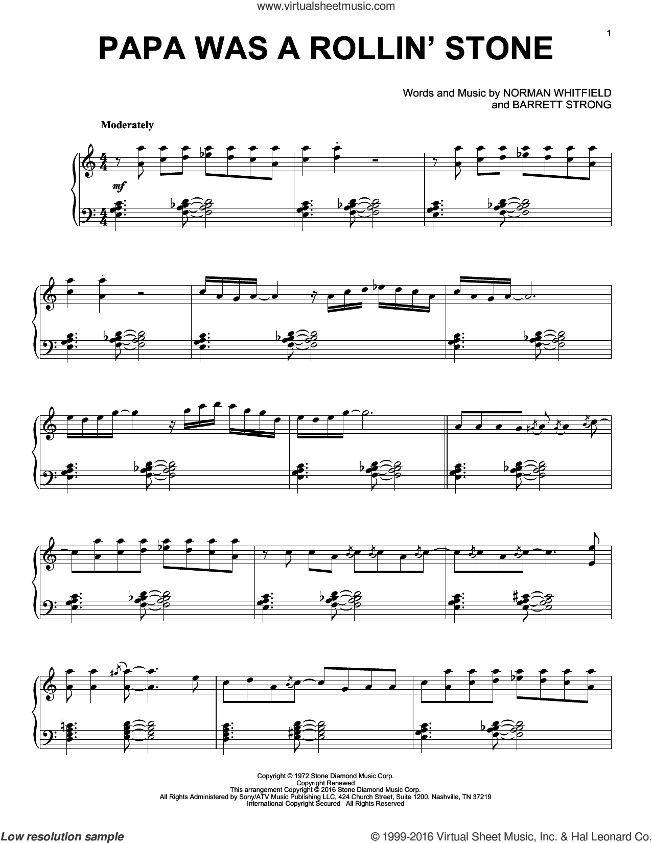 Papa Was A Rollin' Stone sheet music for piano solo by Norman Whitfield, George Michael, The Temptations and Barrett Strong, intermediate skill level