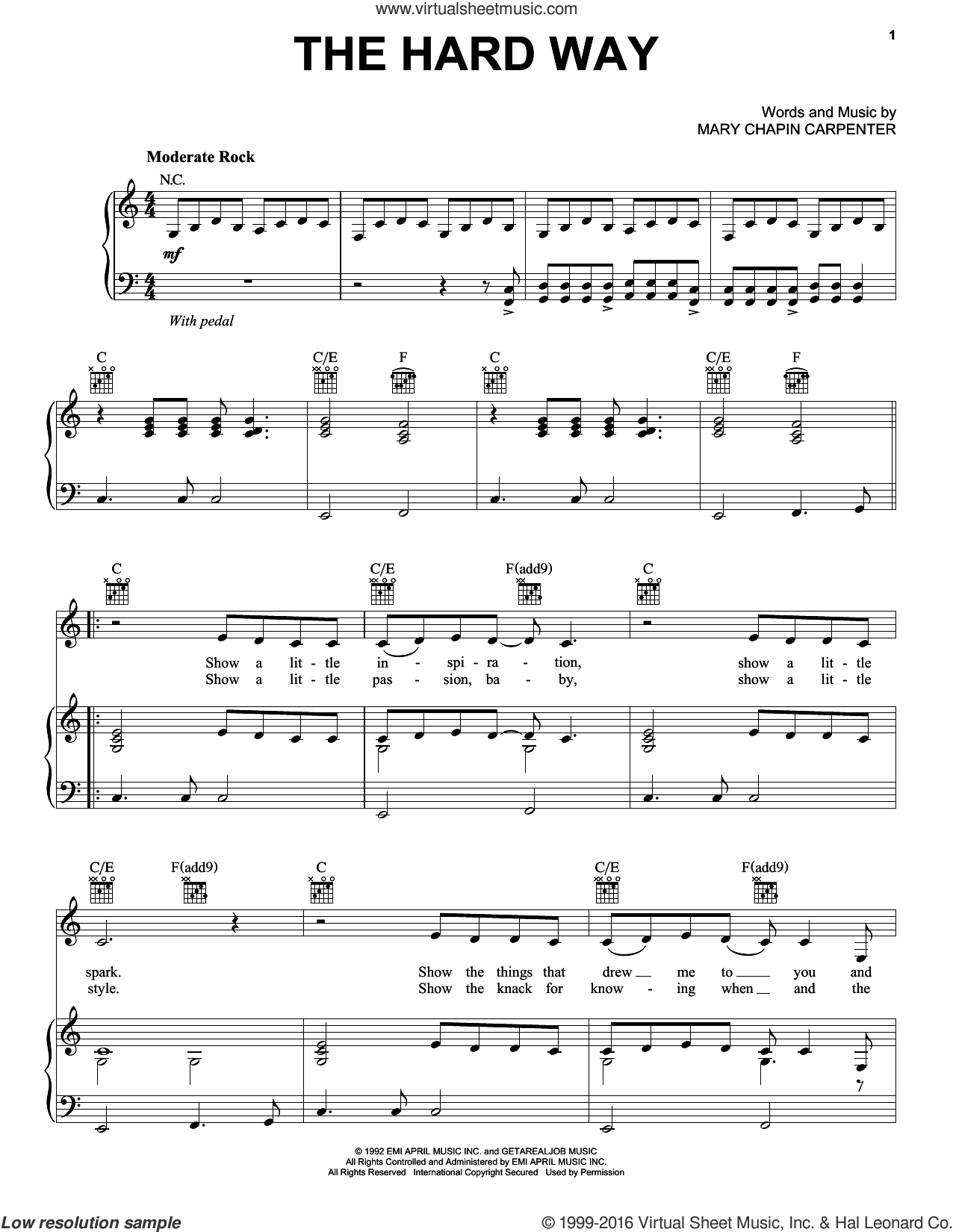 The Hard Way sheet music for voice, piano or guitar by Mary Chapin Carpenter. Score Image Preview.
