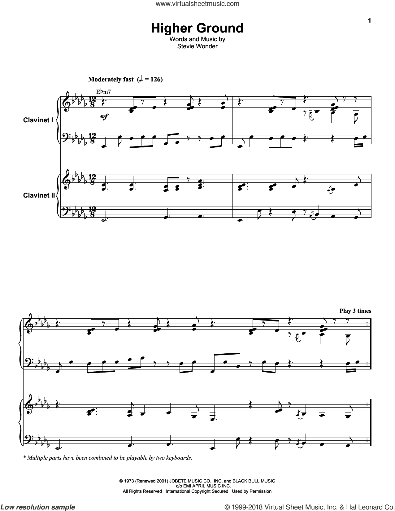 Higher Ground sheet music for keyboard or piano by Stevie Wonder, intermediate skill level