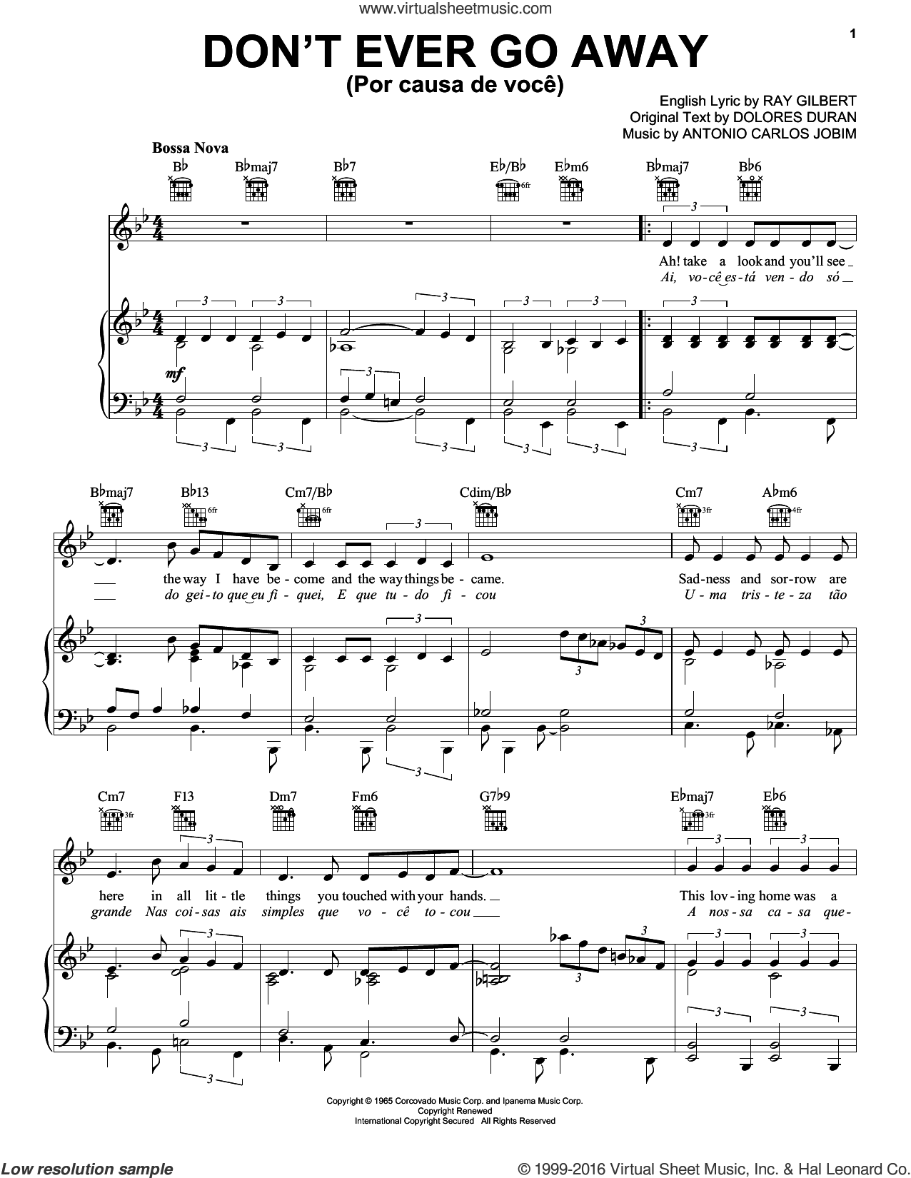 Don't Ever Go Away (Por Causa De Voce) sheet music for voice, piano or guitar by Ray Gilbert, Frank Sinatra and Antonio Carlos Jobim. Score Image Preview.