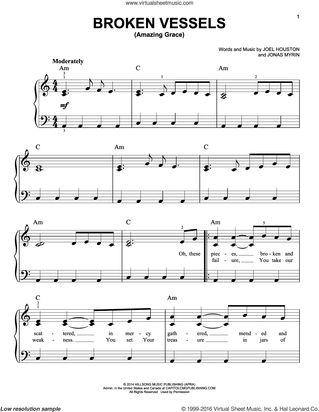 Broken Vessels (Amazing Grace) sheet music for piano solo by Jonas Myrin and Joel Houston. Score Image Preview.