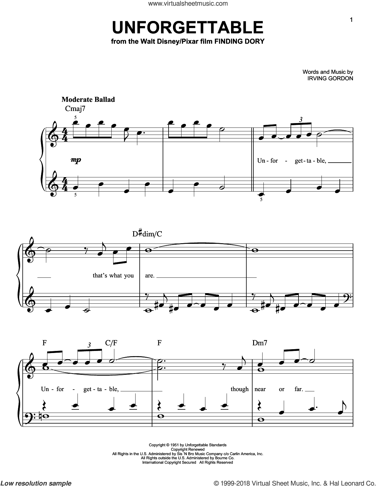 Unforgettable, (easy) sheet music for piano solo by Irving Gordon, Dinah Washington, Natalie Cole and Thomas Newman, easy skill level