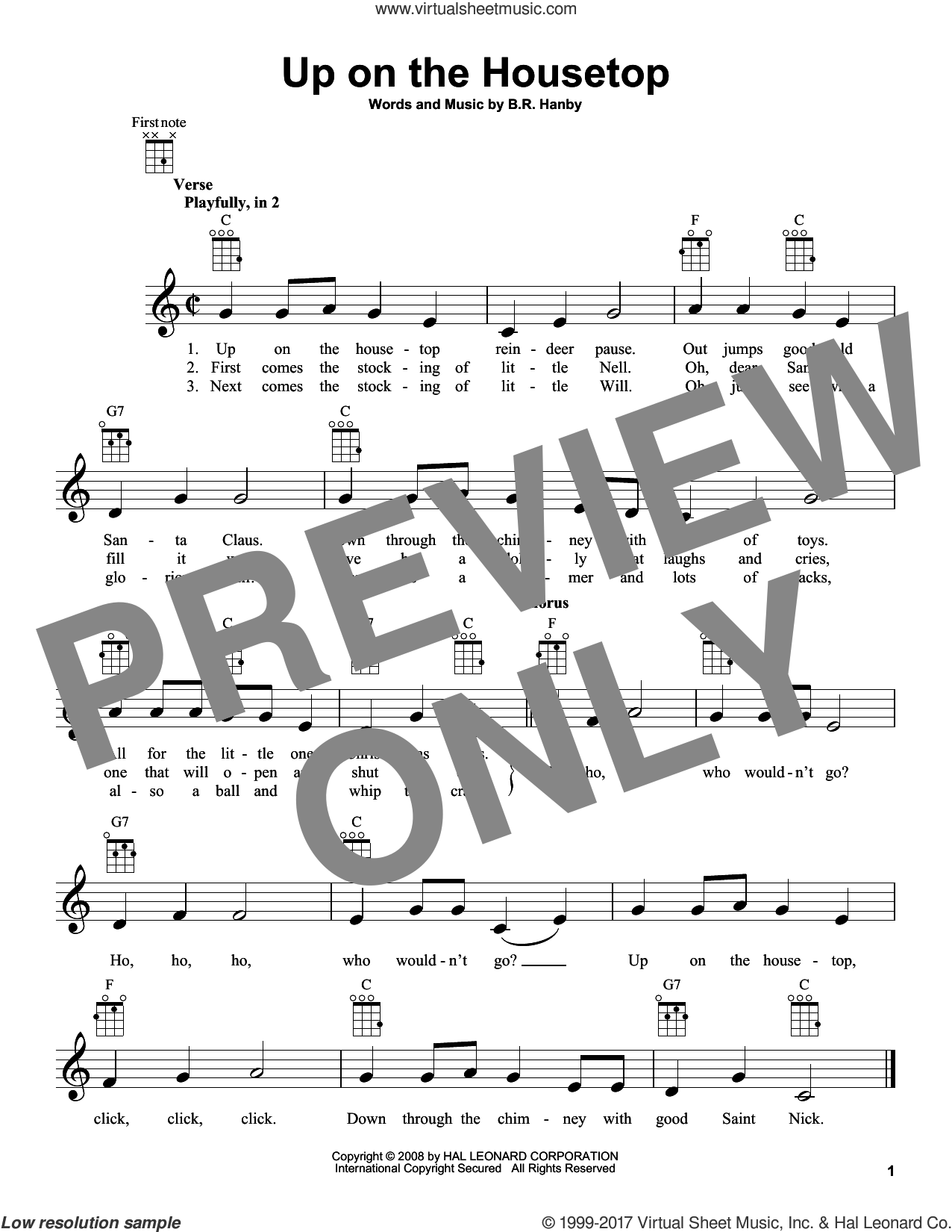 Up On The Housetop sheet music for ukulele by Benjamin Hanby, intermediate skill level