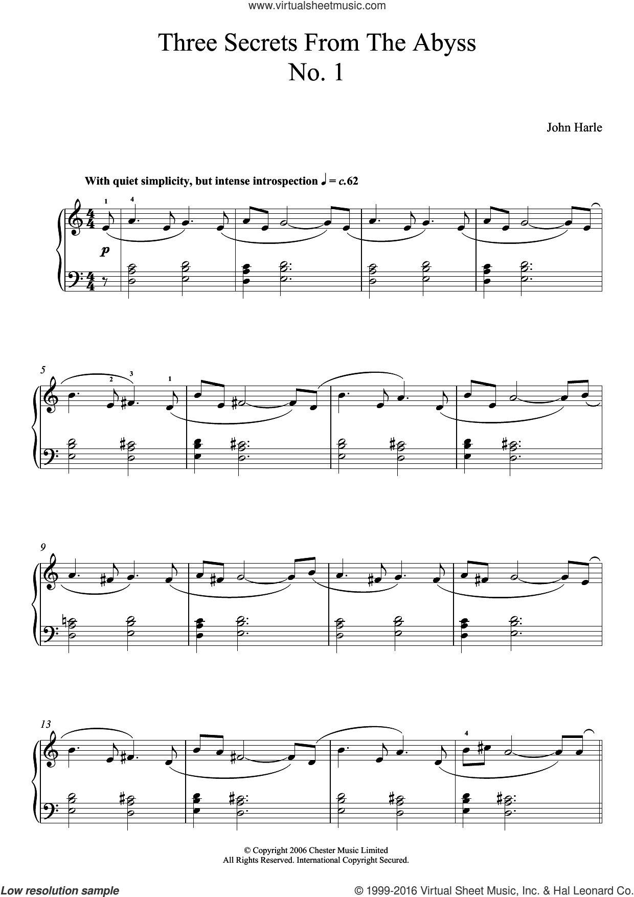 Three Secrets From The Abyss - No. 1 sheet music for piano solo by John Harle. Score Image Preview.