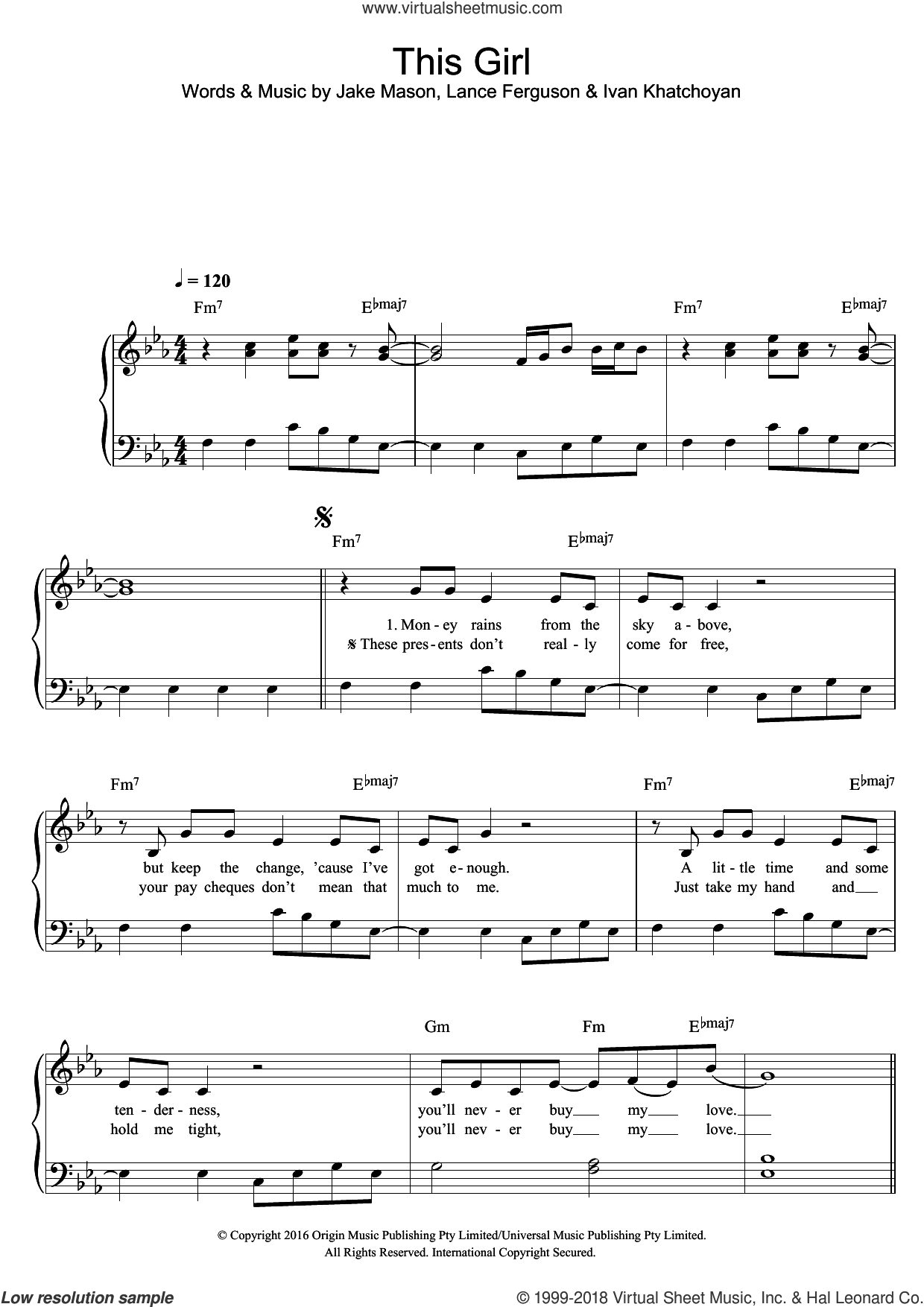 This Girl sheet music for piano solo by Cookin' on 3 Burners, Kungs, Ivan Khatchoyan, Jake Mason and Lance Ferguson, easy skill level