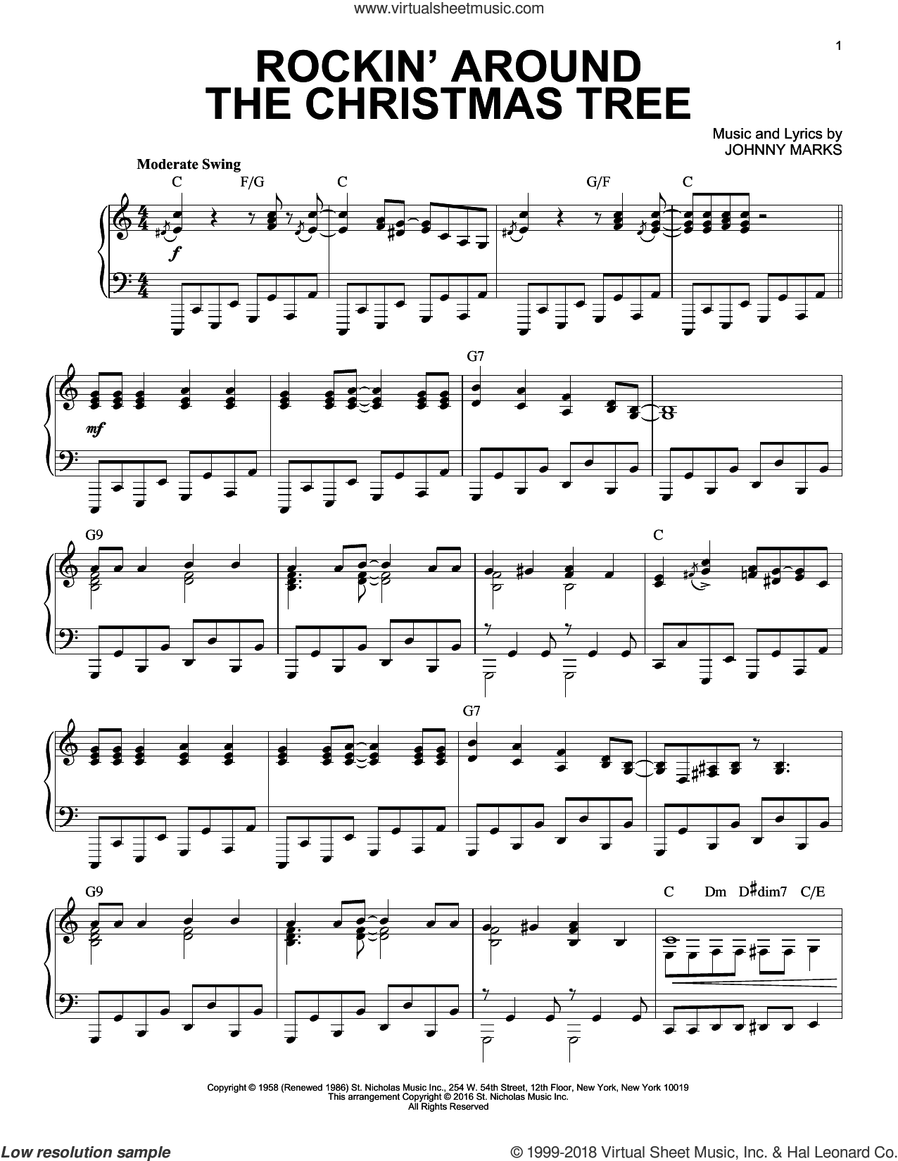 Rockin' Around The Christmas Tree sheet music for piano solo by Johnny Marks, LeAnn Rimes and Toby Keith, intermediate skill level