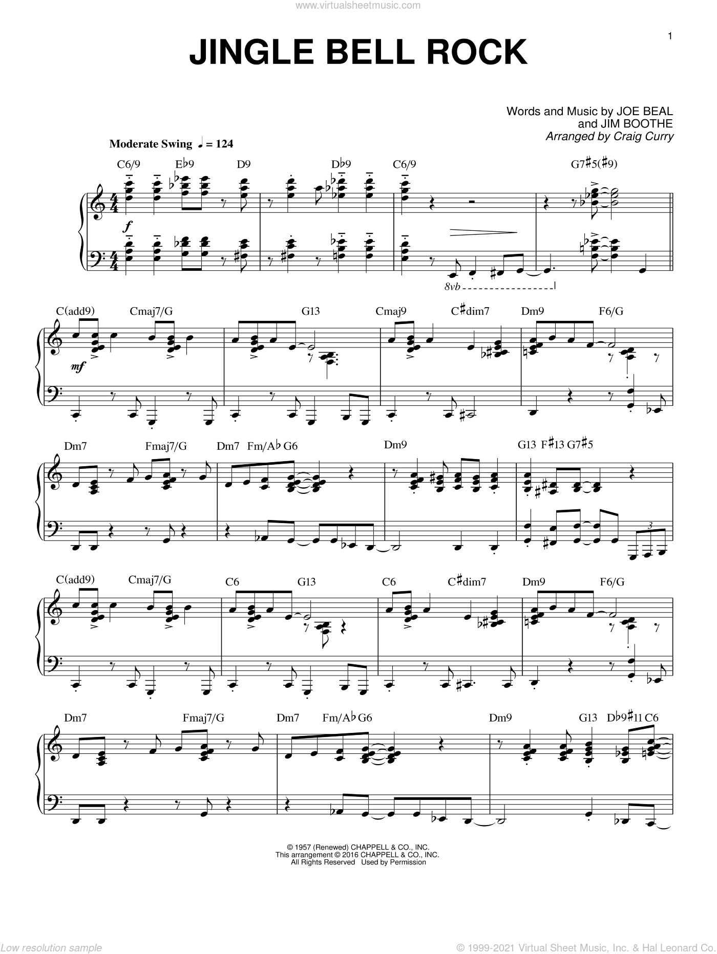 Jingle Bell Rock sheet music for piano solo by Joe Beal, Craig Curry and Jim Boothe, intermediate skill level