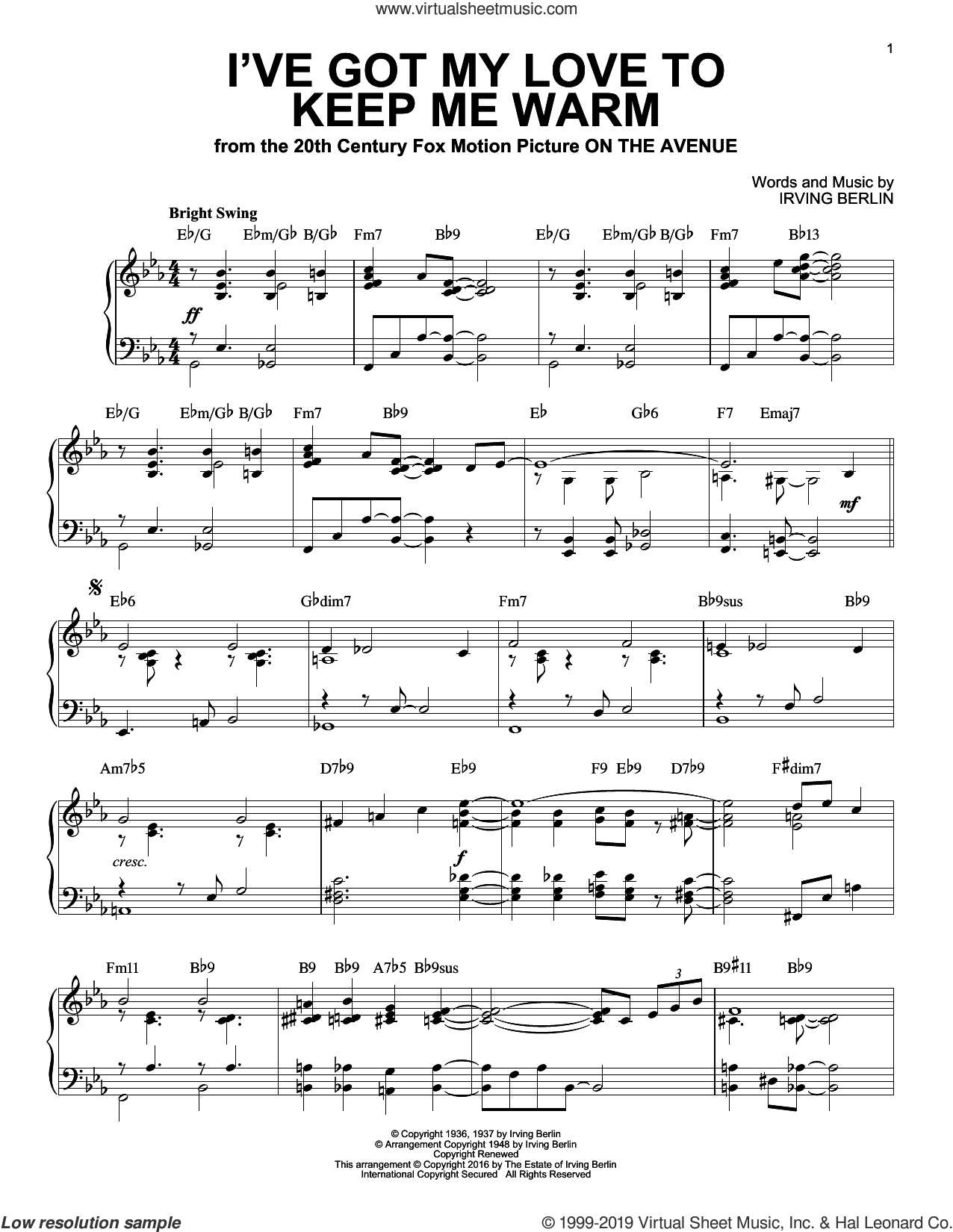 I've Got My Love To Keep Me Warm [Jazz version] (arr. Brent Edstrom) sheet music for piano solo by Irving Berlin and Benny Goodman, intermediate skill level