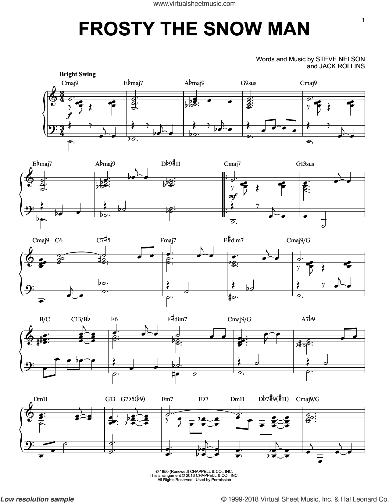 Frosty The Snow Man sheet music for piano solo by Steve Nelson and Jack Rollins, intermediate