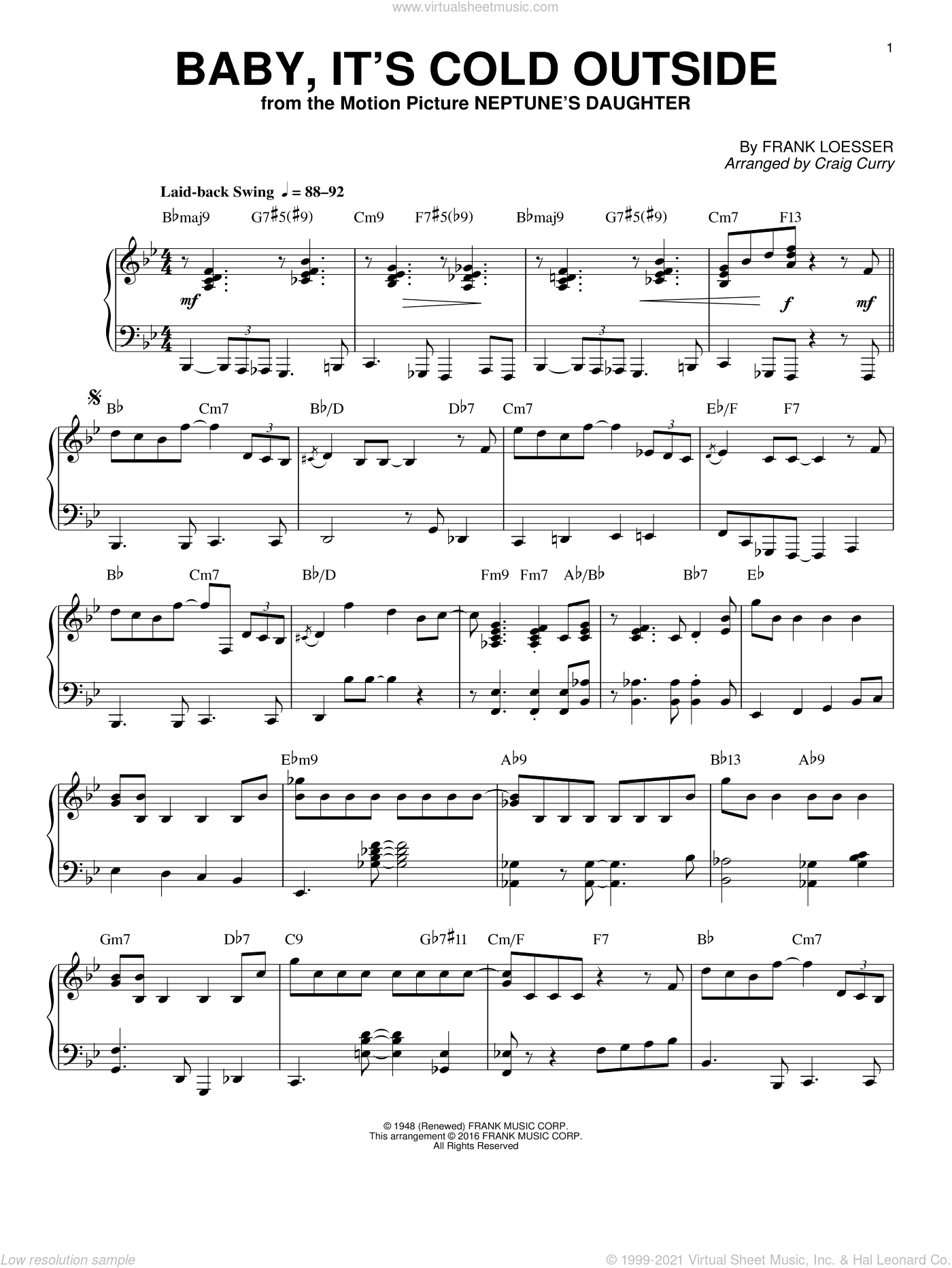 Baby, It's Cold Outside sheet music for piano solo by Frank Loesser, Craig Curry and She & Him, intermediate skill level