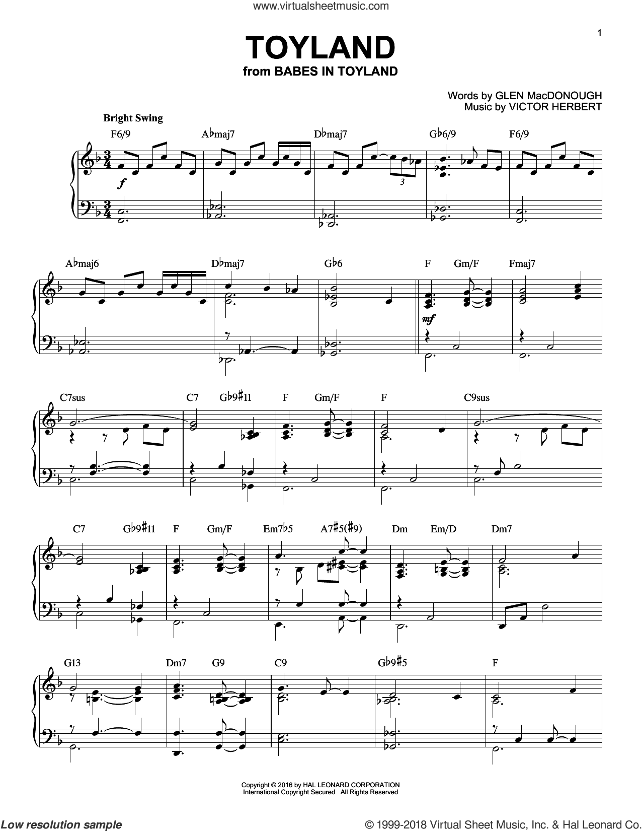 Toyland sheet music for piano solo by Glen MacDonough and Victor Herbert. Score Image Preview.