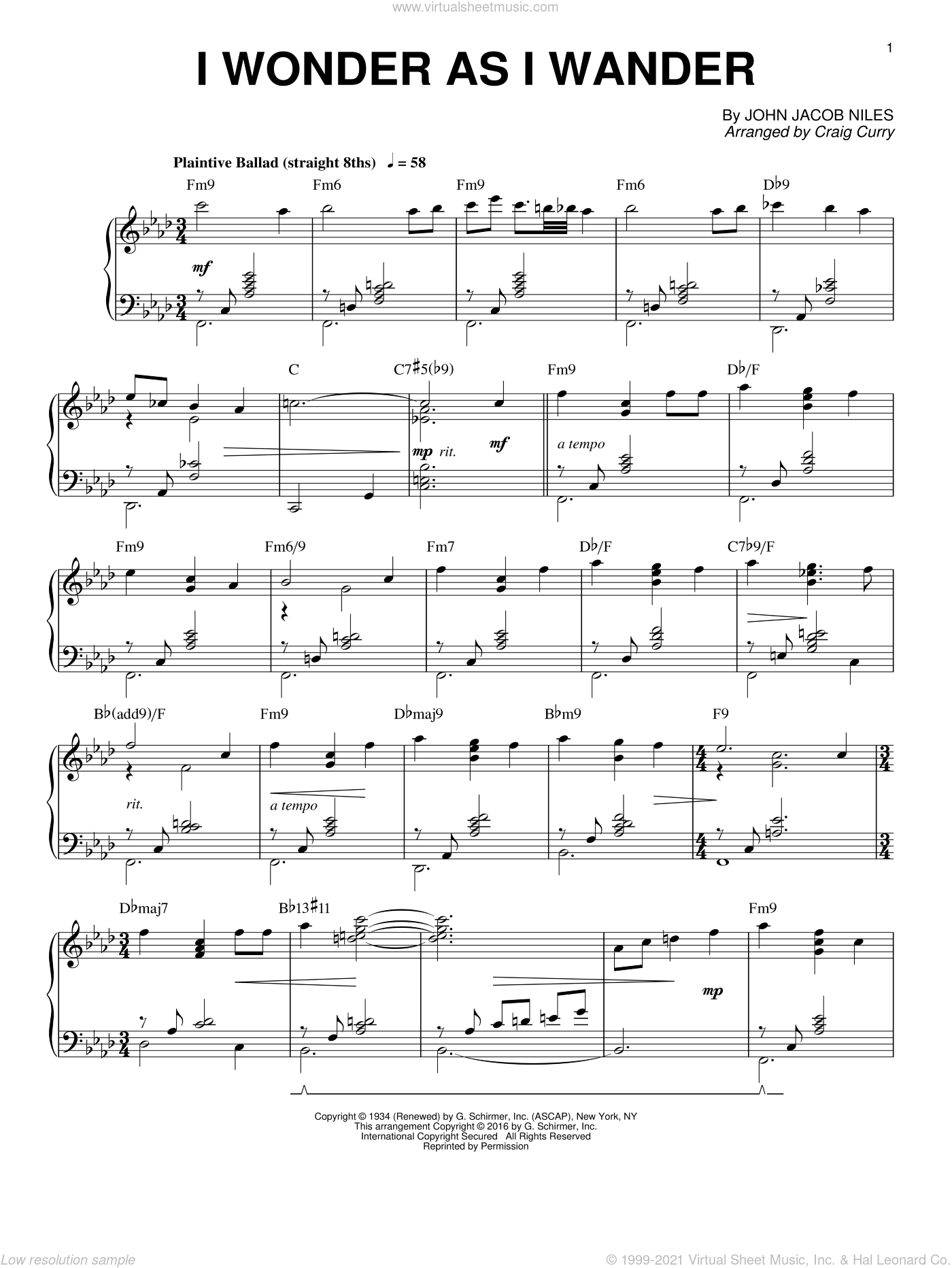 I Wonder As I Wander, (intermediate) sheet music for piano solo by John Jacob Niles and Craig Curry, intermediate skill level
