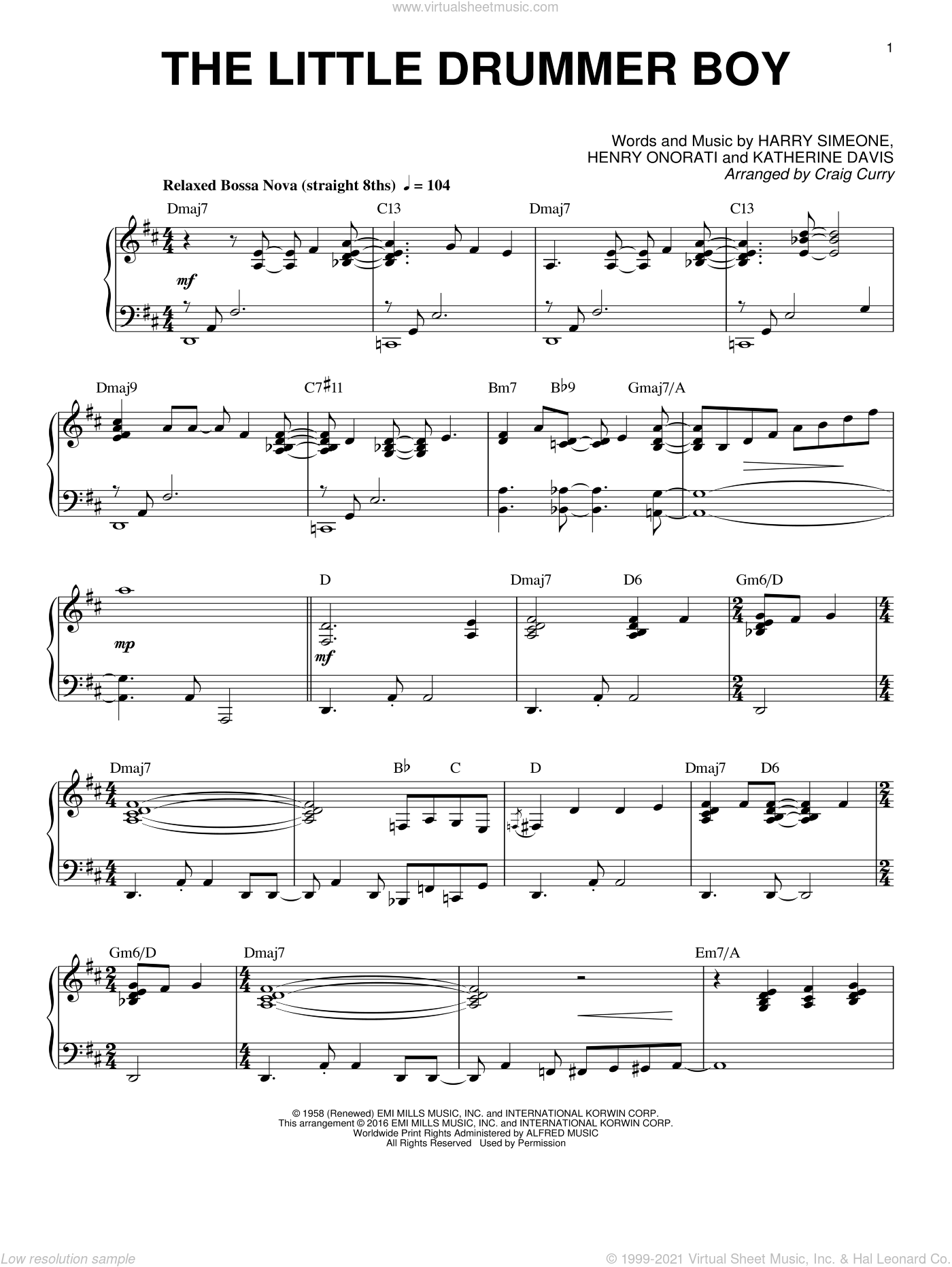 The Little Drummer Boy sheet music for piano solo by Katherine Davis, Craig Curry, Harry Simeone and Henry Onorati, intermediate skill level