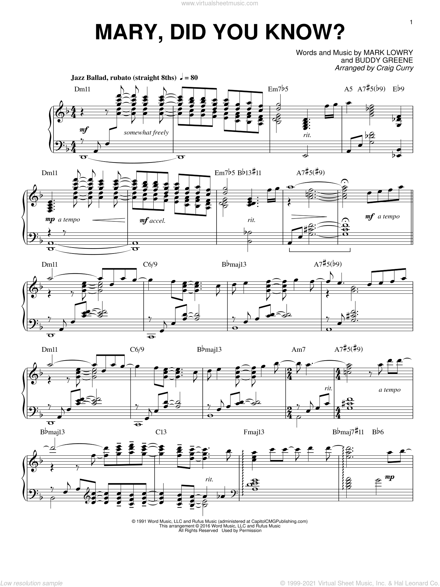 Mary, Did You Know? sheet music for piano solo by Mark Lowry, Craig Curry and Buddy Greene, intermediate skill level