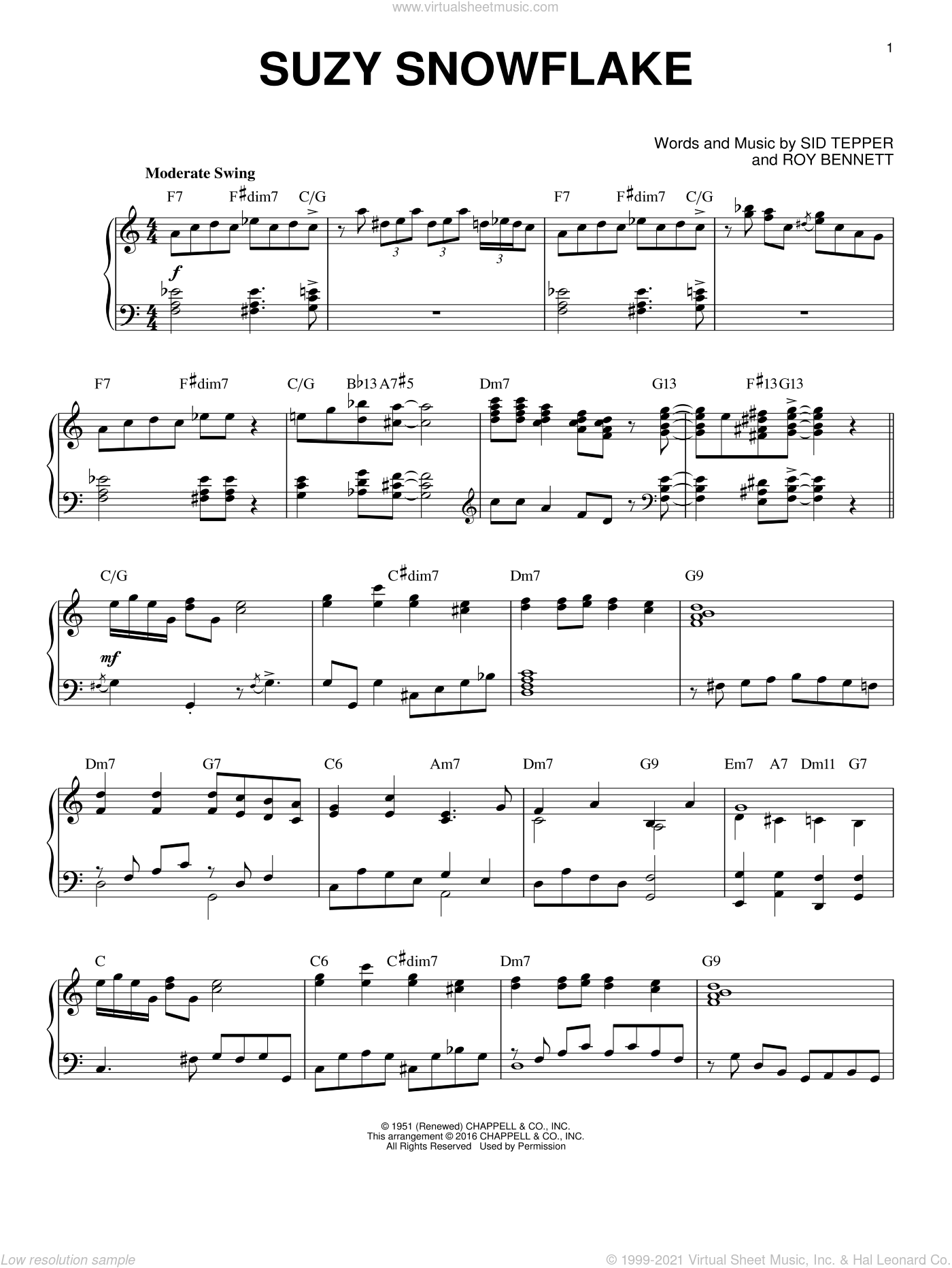 Suzy Snowflake sheet music for piano solo by Roy Bennett and Sid Tepper, intermediate. Score Image Preview.