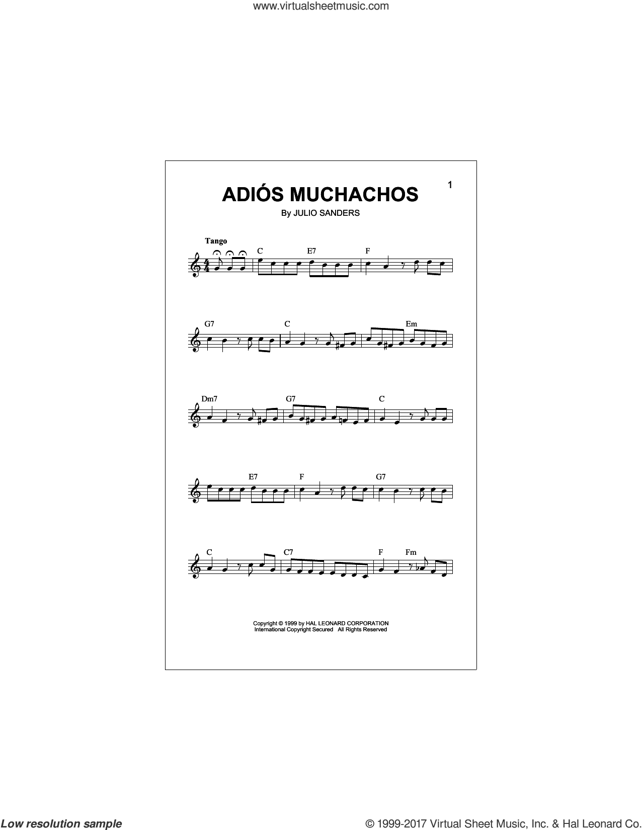 Adios Muchachos sheet music for voice and other instruments (fake book) by Julio Cesar Sanders, intermediate skill level