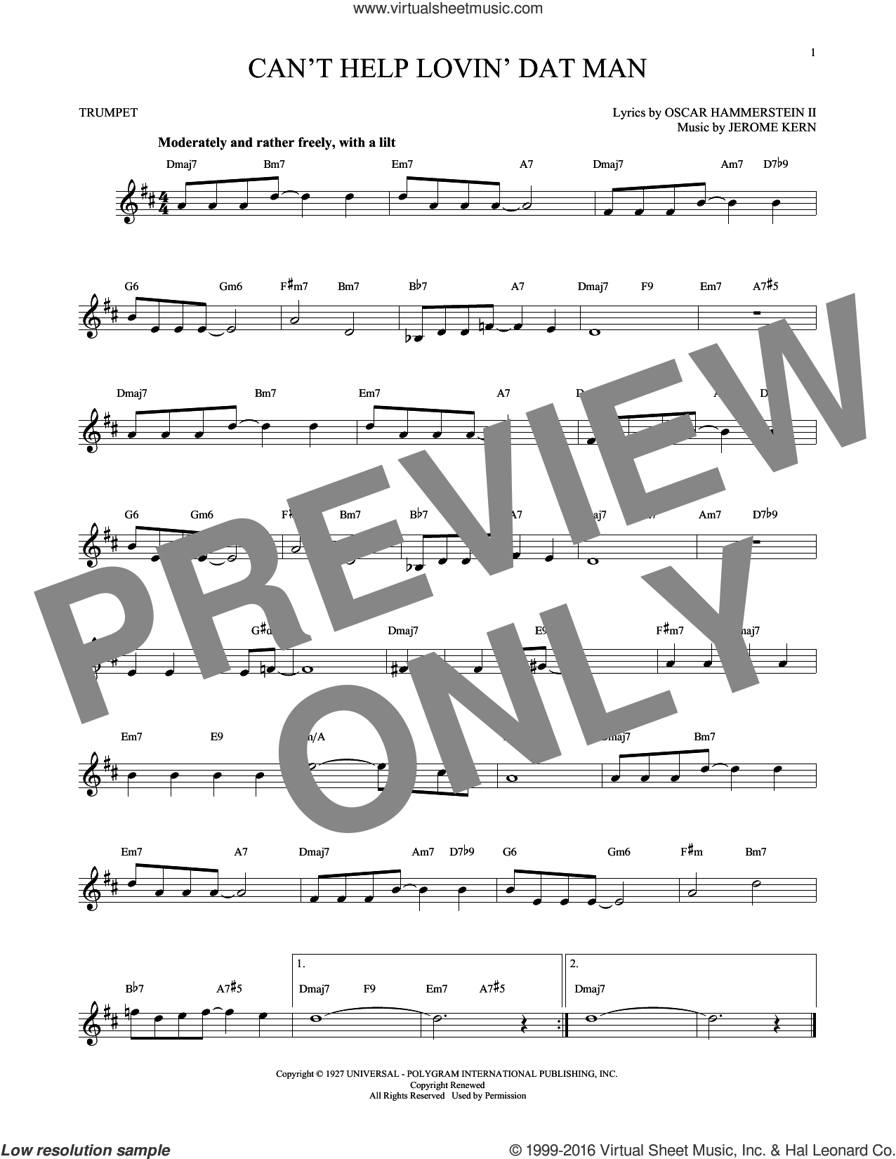 Can't Help Lovin' Dat Man sheet music for trumpet solo by Oscar II Hammerstein, Helen Morgan and Jerome Kern. Score Image Preview.