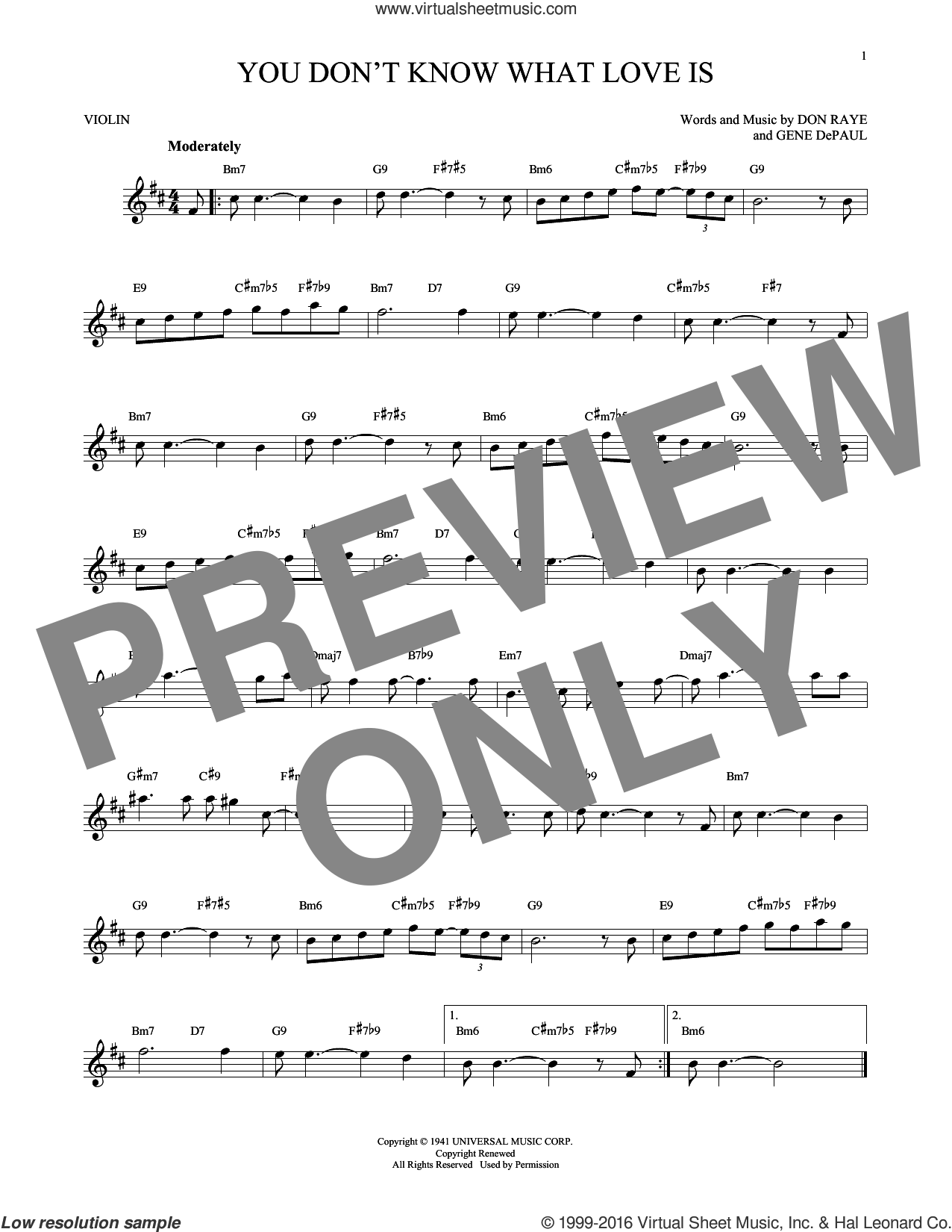 You Don't Know What Love Is sheet music for violin solo by Don Raye, Carol Bruce and Gene DePaul, intermediate skill level