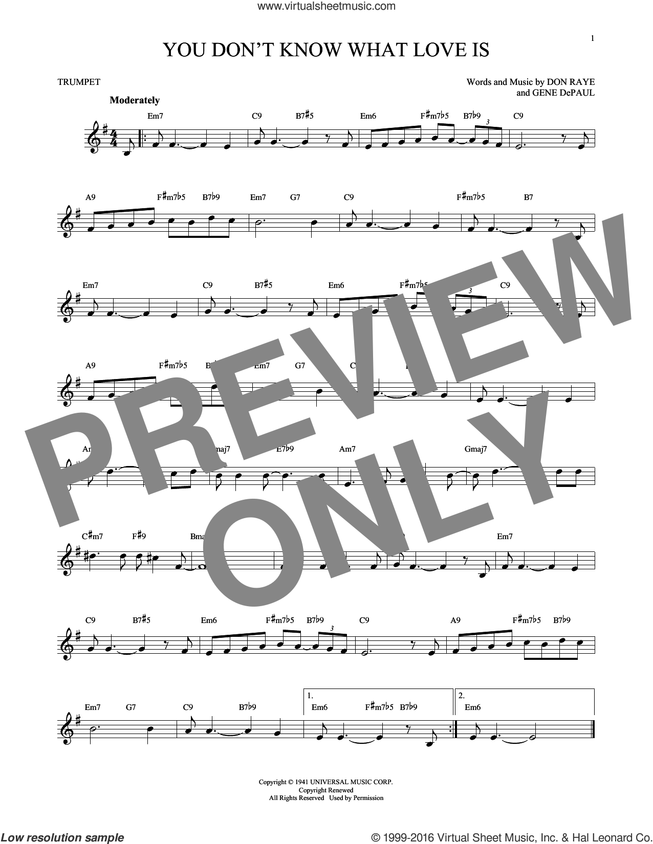 You Don't Know What Love Is sheet music for trumpet solo by Gene DePaul and Don Raye. Score Image Preview.