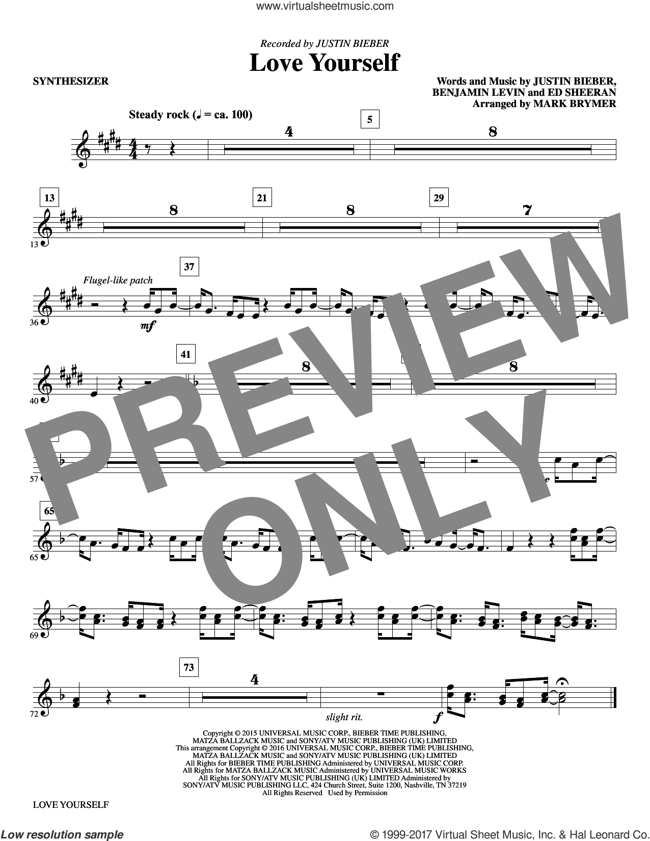 Love Yourself (complete set of parts) sheet music for orchestra/band by Mark Brymer, Benjamin Levin, Ed Sheeran and Justin Bieber, intermediate skill level