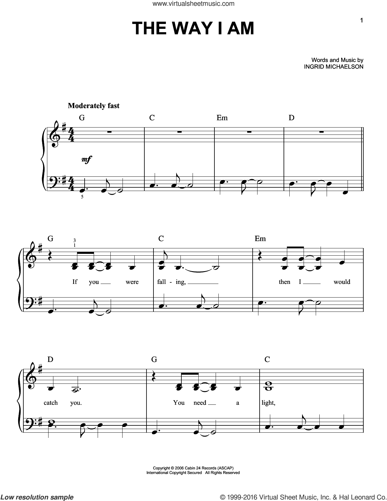 The Way I Am sheet music for piano solo by Ingrid Michaelson, wedding score, easy skill level