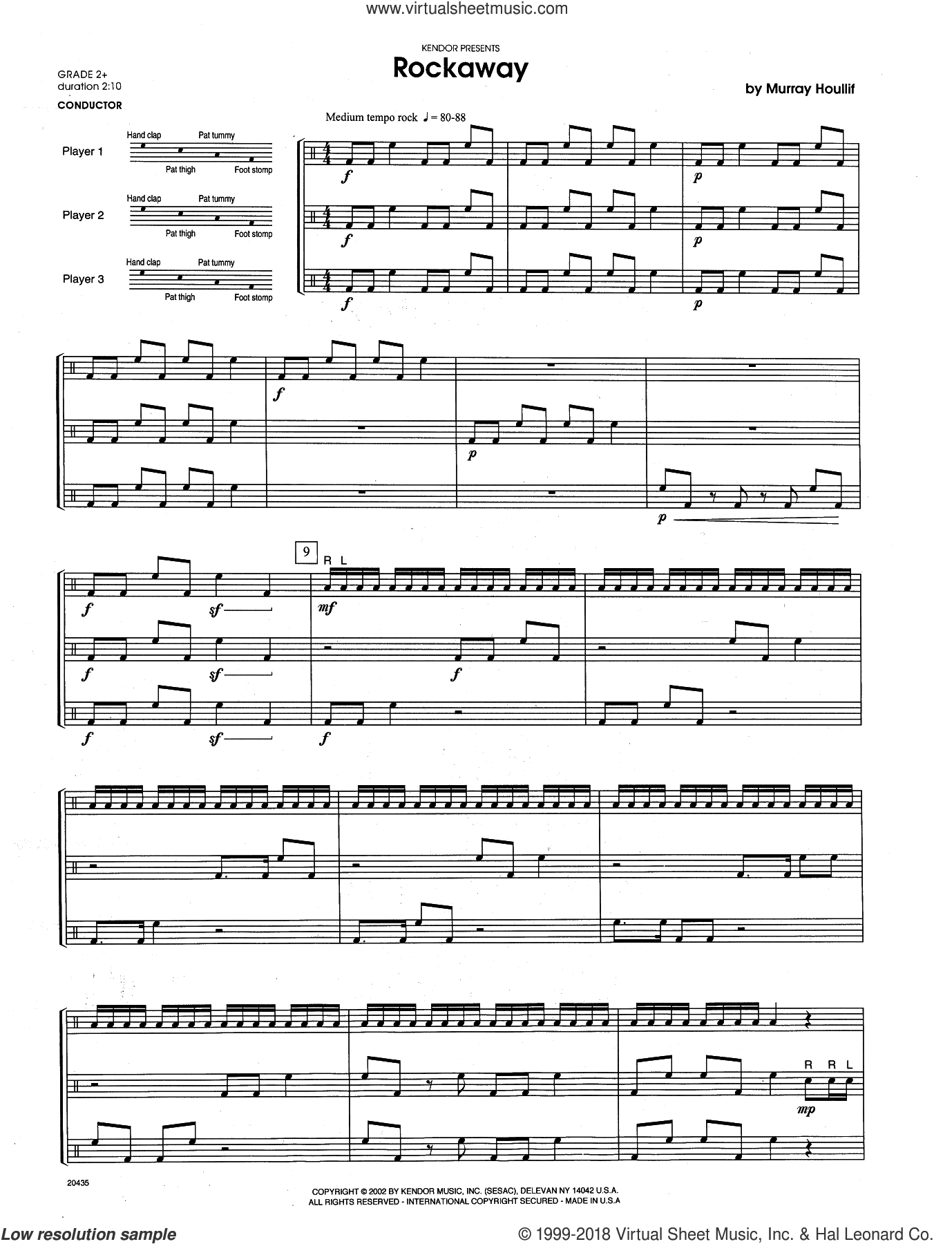 Rockaway (COMPLETE) sheet music for percussions by Houllif, intermediate