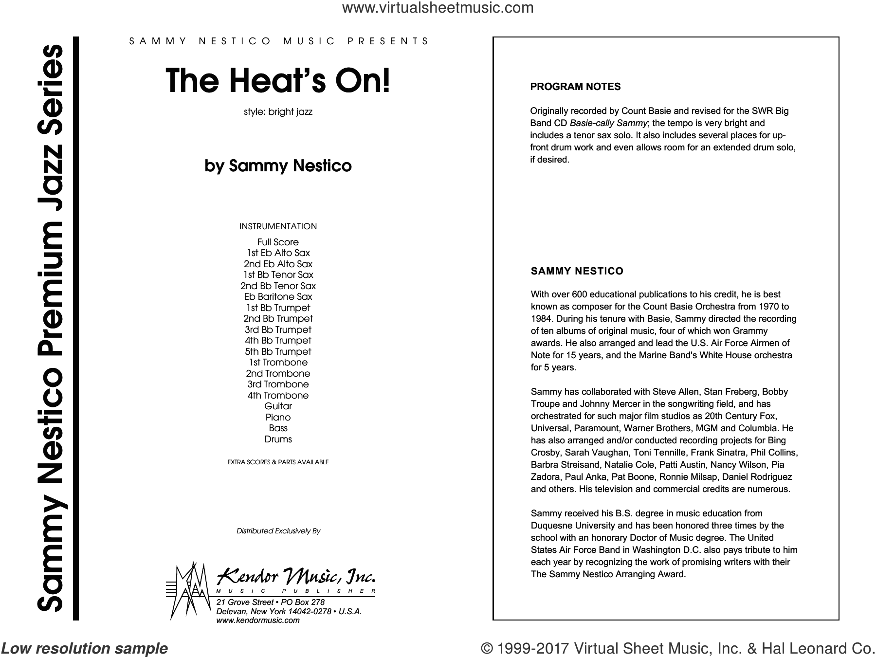 The Heat's On (COMPLETE) sheet music for jazz band by Sammy Nestico, intermediate skill level
