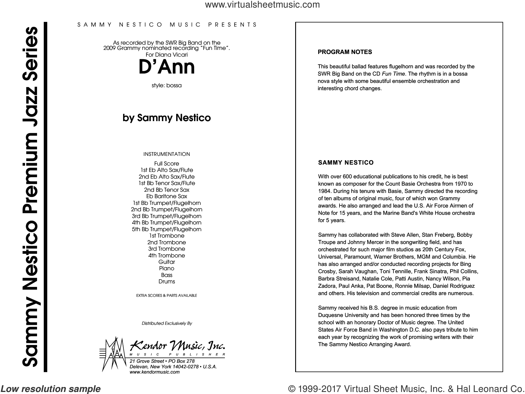 D'Ann (COMPLETE) sheet music for jazz band by Sammy Nestico, intermediate skill level