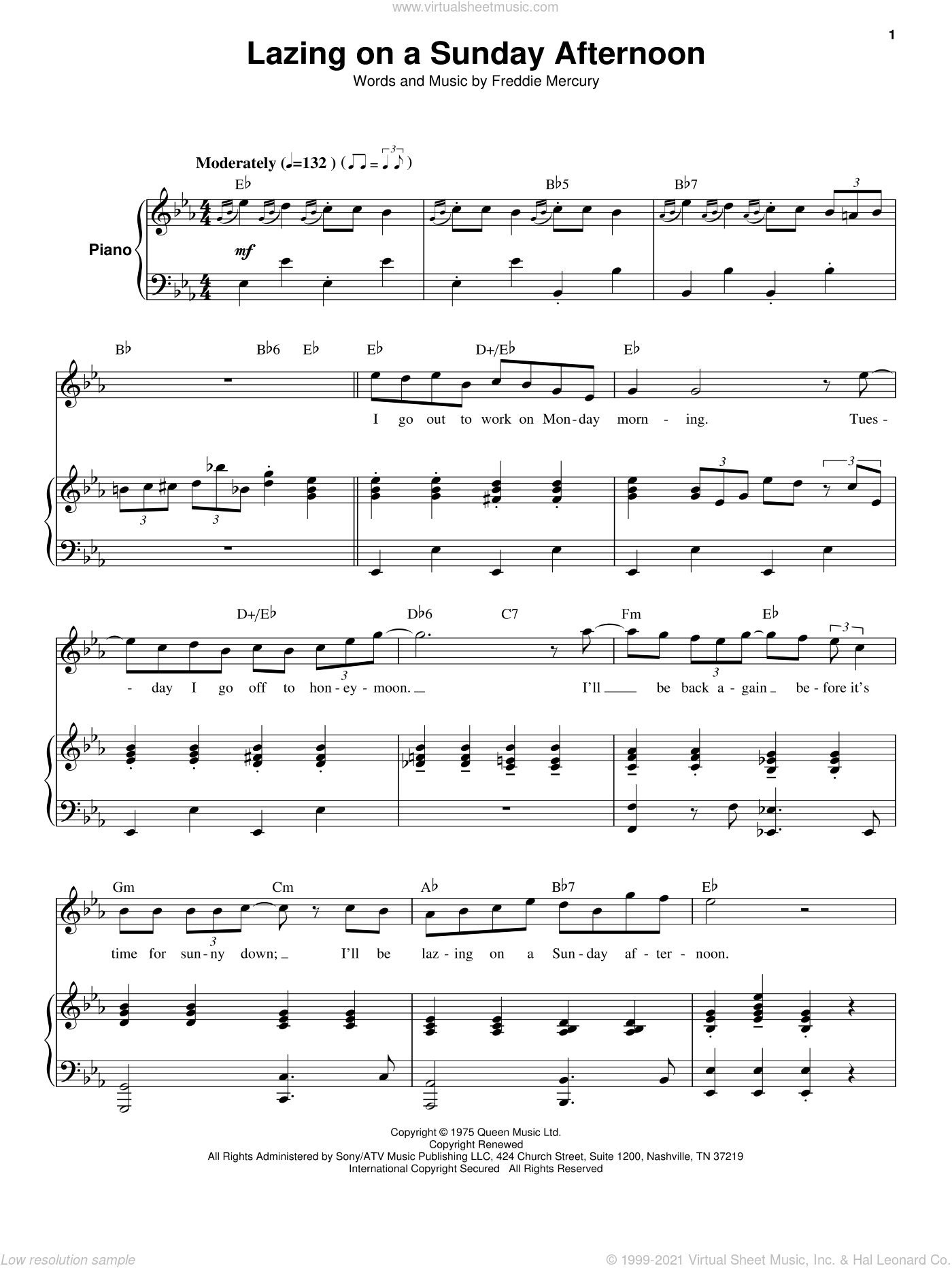 Lazing On A Sunday Afternoon sheet music for keyboard or piano by Queen and Freddie Mercury, intermediate skill level