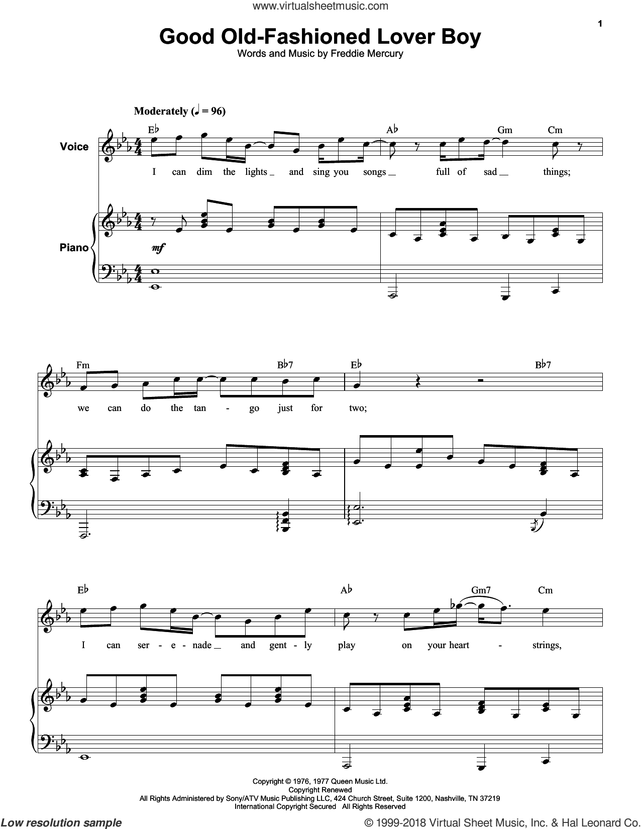 Good Old-Fashioned Lover Boy sheet music for keyboard or piano by Queen and Freddie Mercury, intermediate skill level