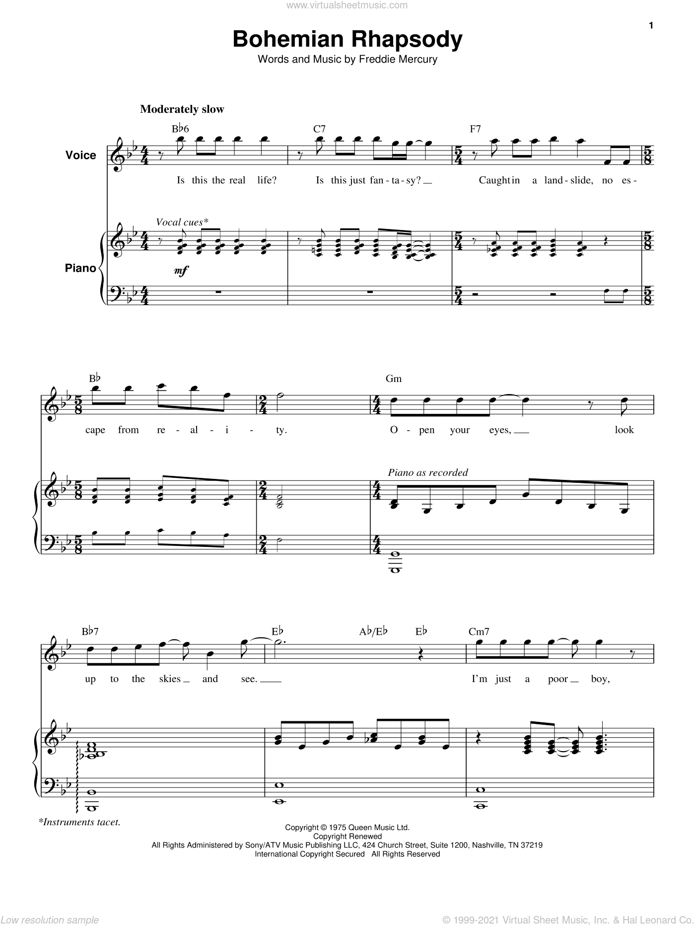 Bohemian Rhapsody sheet music for keyboard or piano by Queen and Freddie Mercury, intermediate skill level