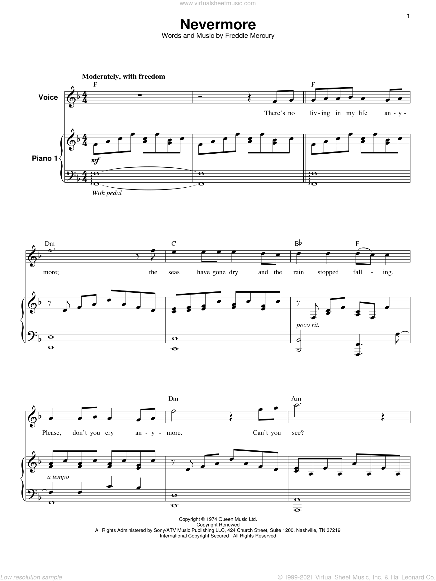 Nevermore sheet music for keyboard or piano by Queen and Freddie Mercury, intermediate skill level