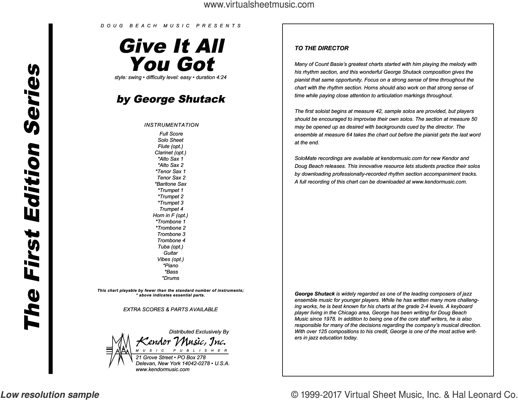Give It All You Got (COMPLETE) sheet music for jazz band by George Shutack, intermediate skill level