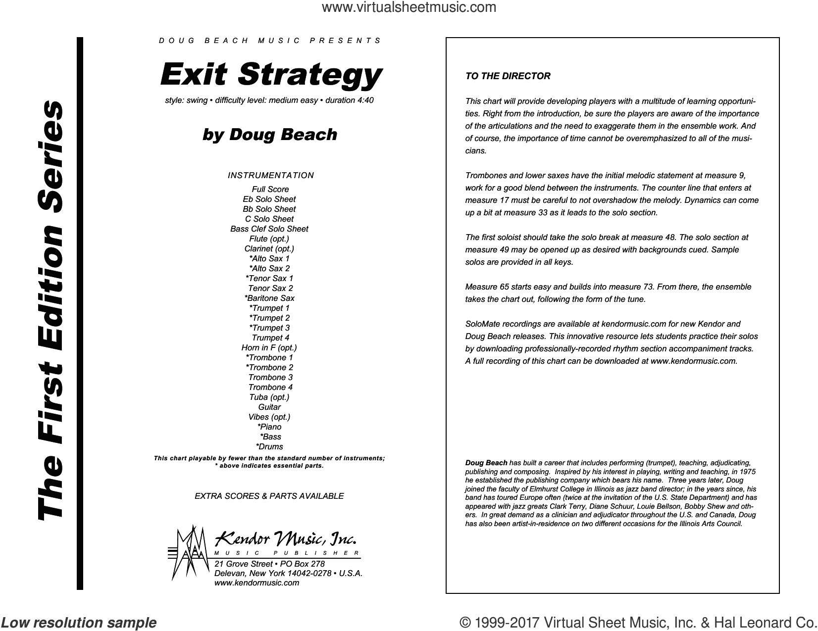 Exit Strategy (COMPLETE) sheet music for jazz band by Doug Beach, intermediate skill level