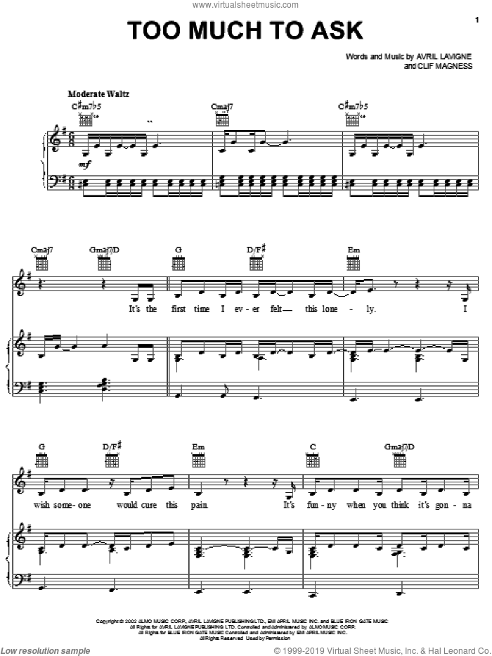 Too Much To Ask sheet music for voice, piano or guitar by Avril Lavigne and Clif Magness, intermediate skill level