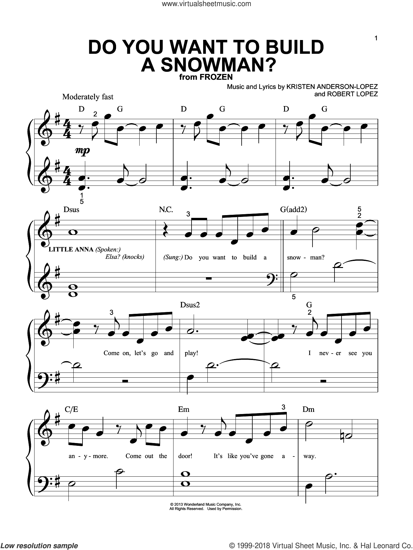 Do You Want To Build A Snowman? (from Disney's Frozen) sheet music for piano solo (big note book) by Robert Lopez, Kristen Bell, Agatha Lee Monn & Katie Lopez and Kristen Anderson-Lopez, easy piano (big note book)