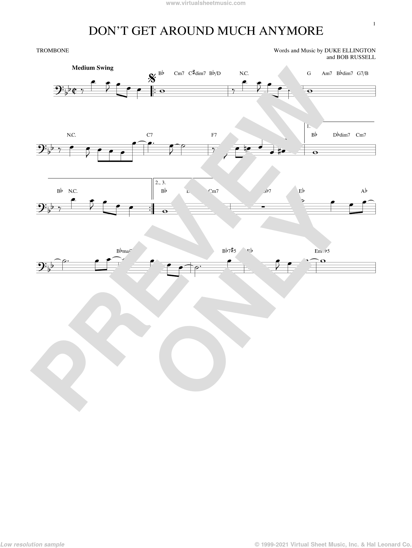 Don't Get Around Much Anymore sheet music for trombone solo by Duke Ellington and Bob Russell. Score Image Preview.
