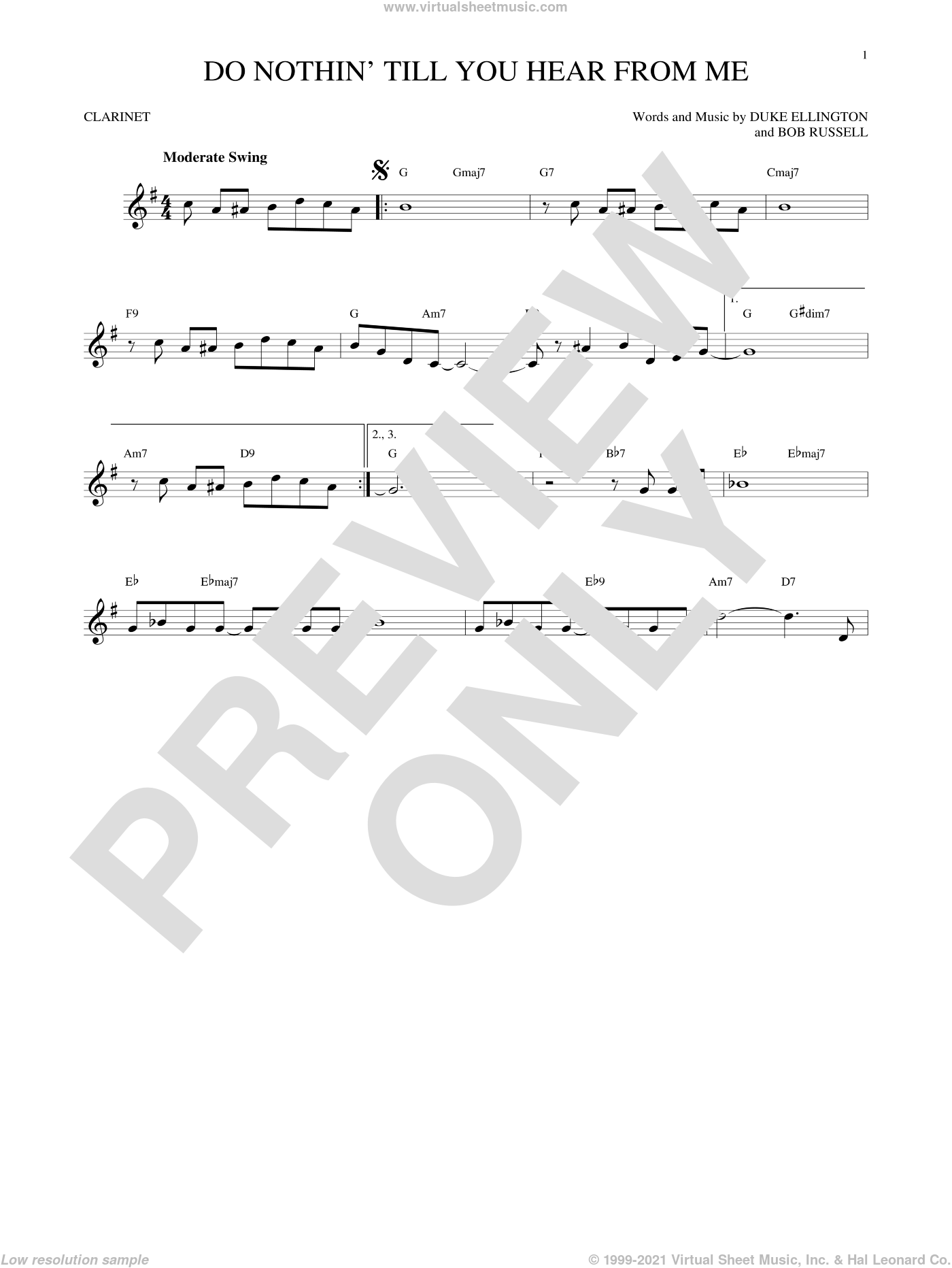 Do Nothin' Till You Hear From Me sheet music for clarinet solo by Duke Ellington and Bob Russell, intermediate. Score Image Preview.