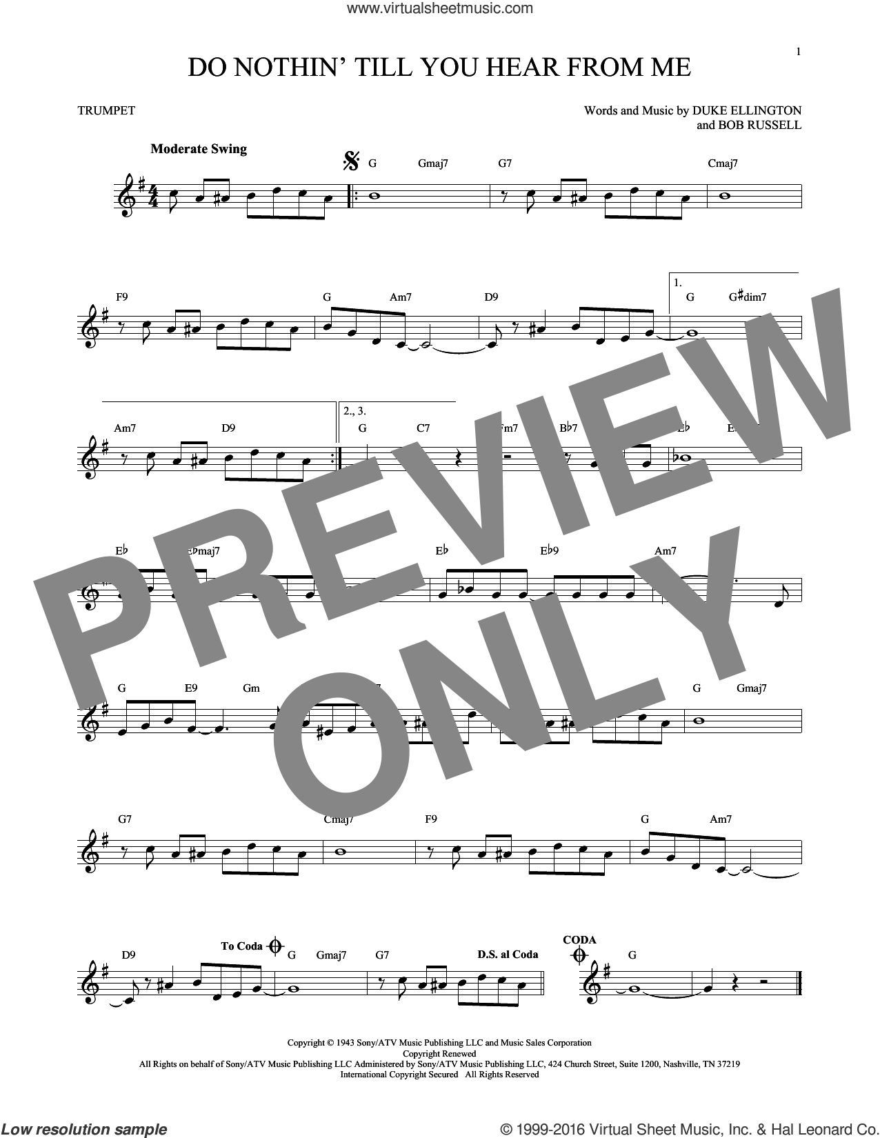 Do Nothin' Till You Hear From Me sheet music for trumpet solo by Duke Ellington and Bob Russell, intermediate skill level