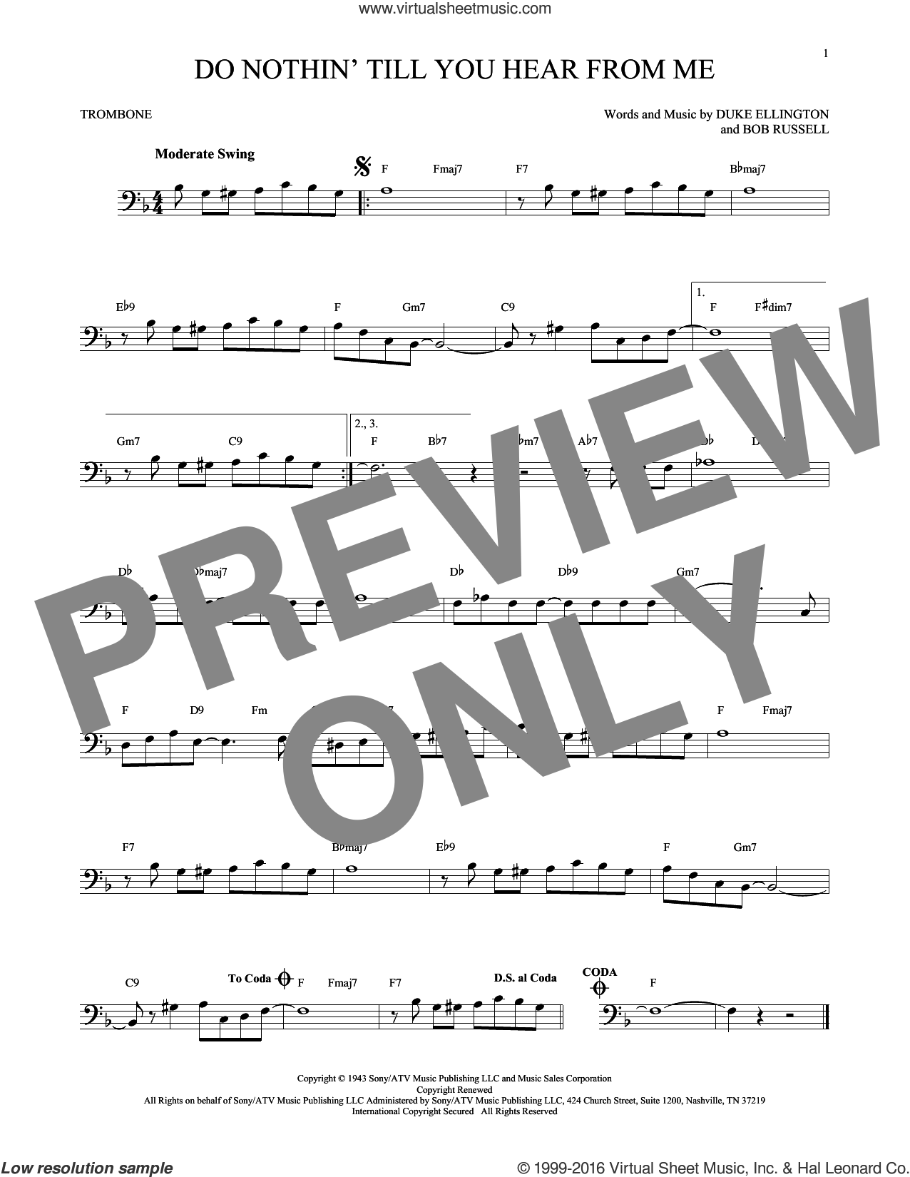 Do Nothin' Till You Hear From Me sheet music for trombone solo by Duke Ellington and Bob Russell, intermediate skill level