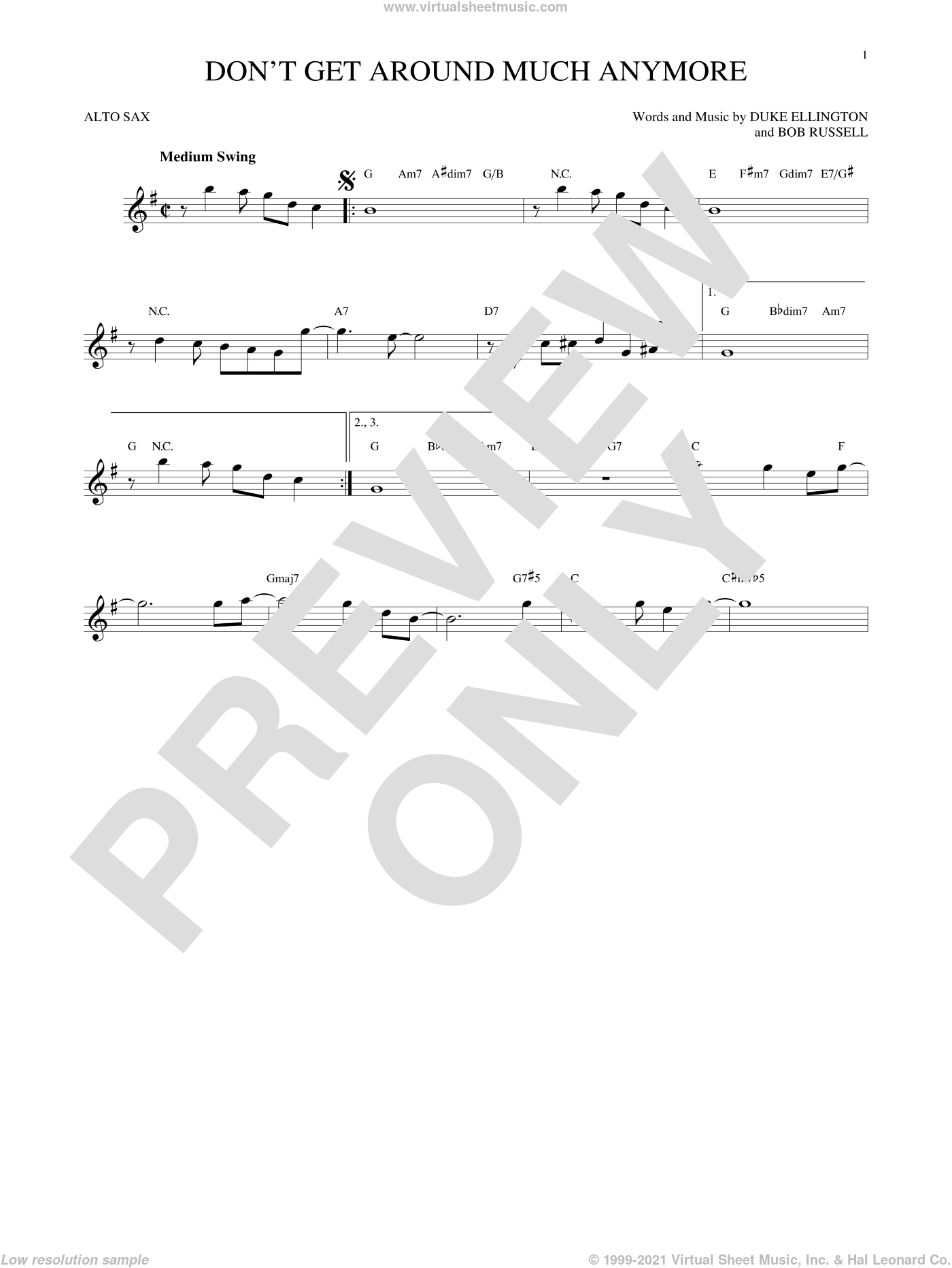 Don't Get Around Much Anymore sheet music for alto saxophone solo by Duke Ellington and Bob Russell, intermediate alto saxophone. Score Image Preview.