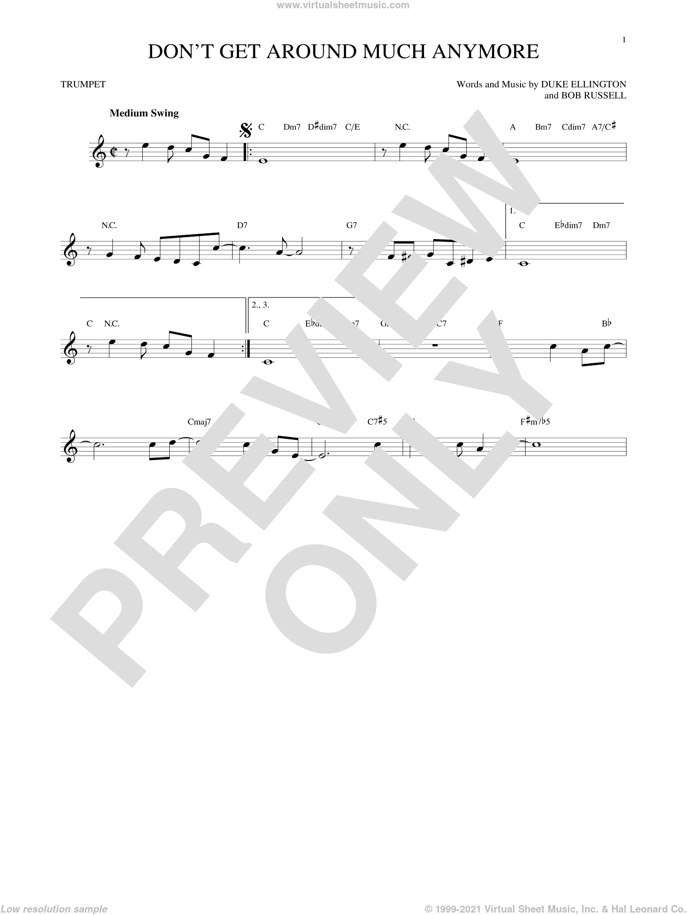 Don't Get Around Much Anymore sheet music for trumpet solo by Duke Ellington and Bob Russell, intermediate. Score Image Preview.