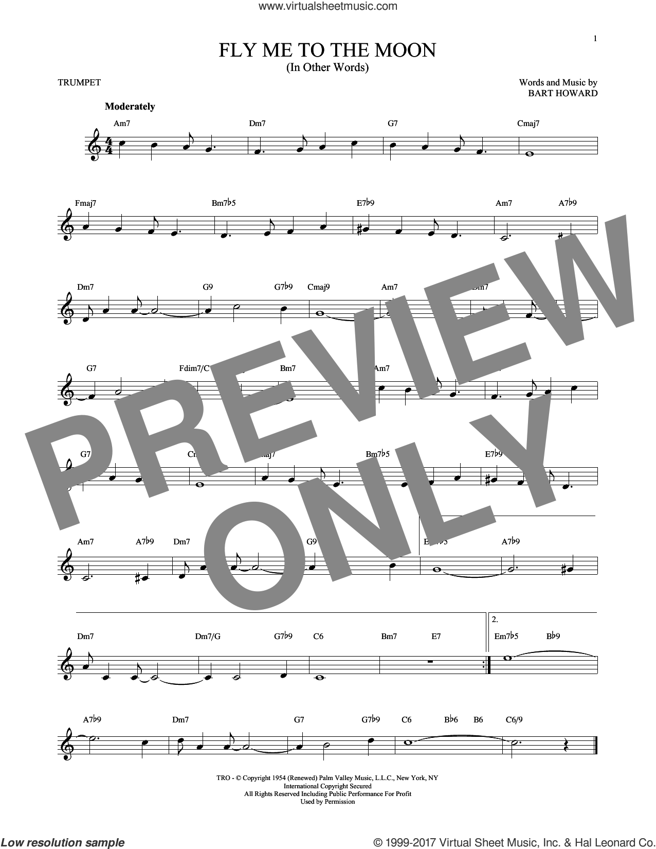 Fly Me To The Moon (In Other Words) sheet music for trumpet solo by Bart Howard and Tony Bennett, wedding score, intermediate skill level