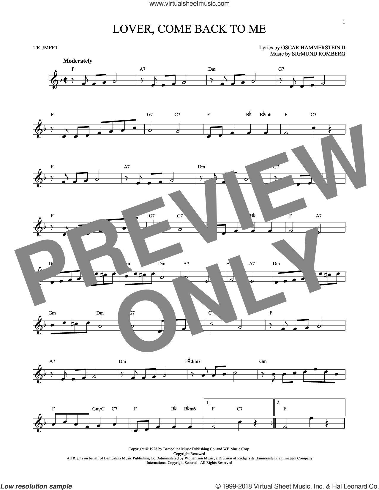 Lover, Come Back To Me sheet music for trumpet solo by Oscar II Hammerstein and Sigmund Romberg, intermediate. Score Image Preview.