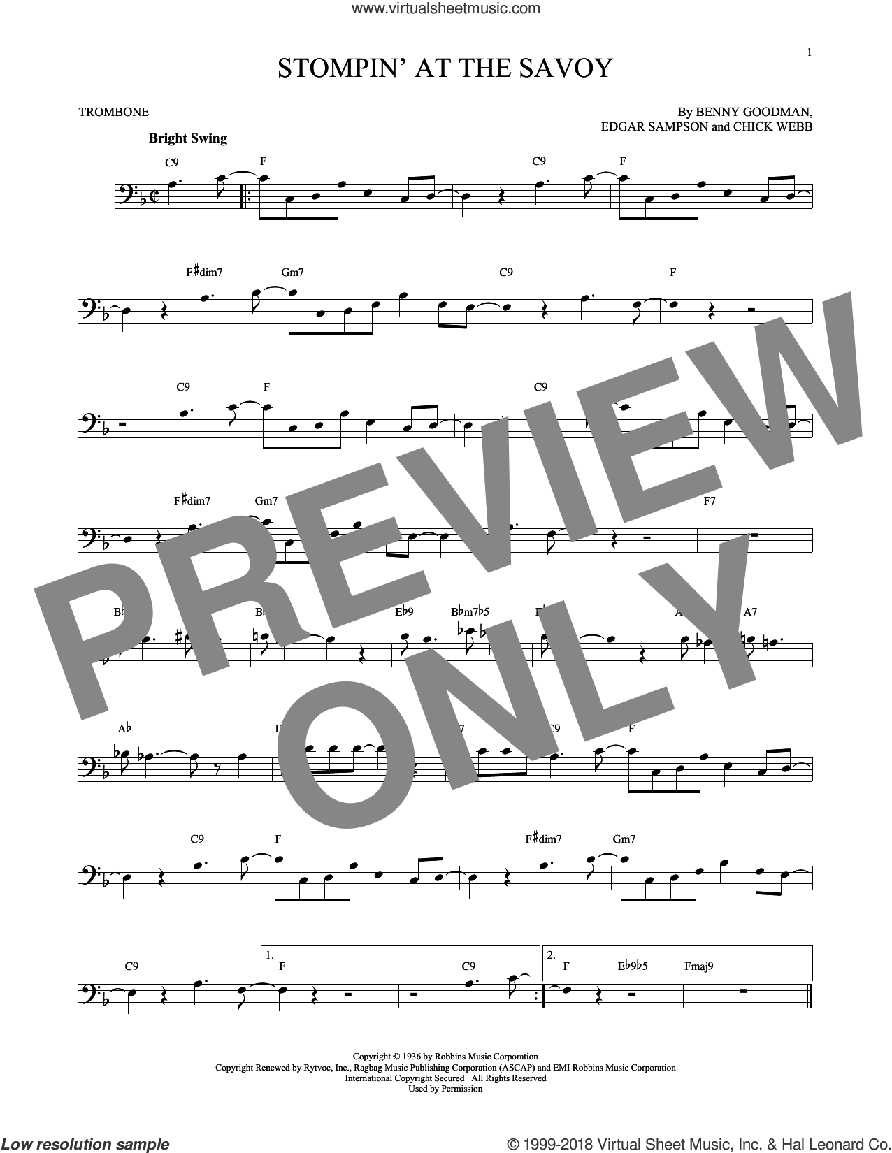 Stompin' At The Savoy sheet music for trombone solo by Benny Goodman, Andy Razaf, Chick Webb and Edgar Sampson, intermediate skill level