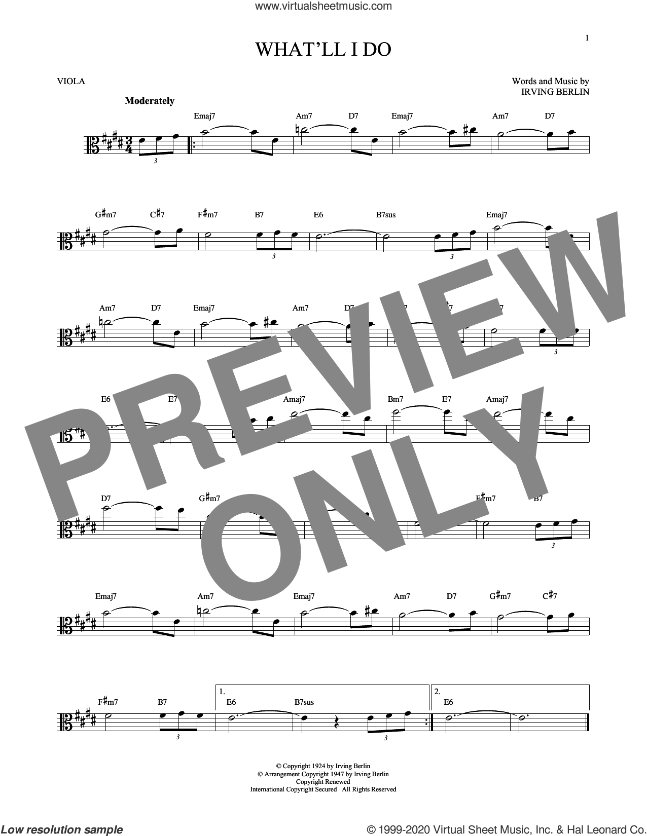What'll I Do? sheet music for viola solo by Irving Berlin and Bobby Scott, intermediate skill level