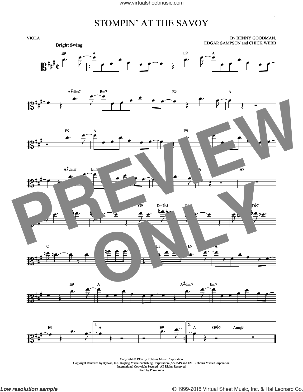 Stompin' At The Savoy sheet music for viola solo by Benny Goodman, Andy Razaf, Chick Webb and Edgar Sampson, intermediate skill level